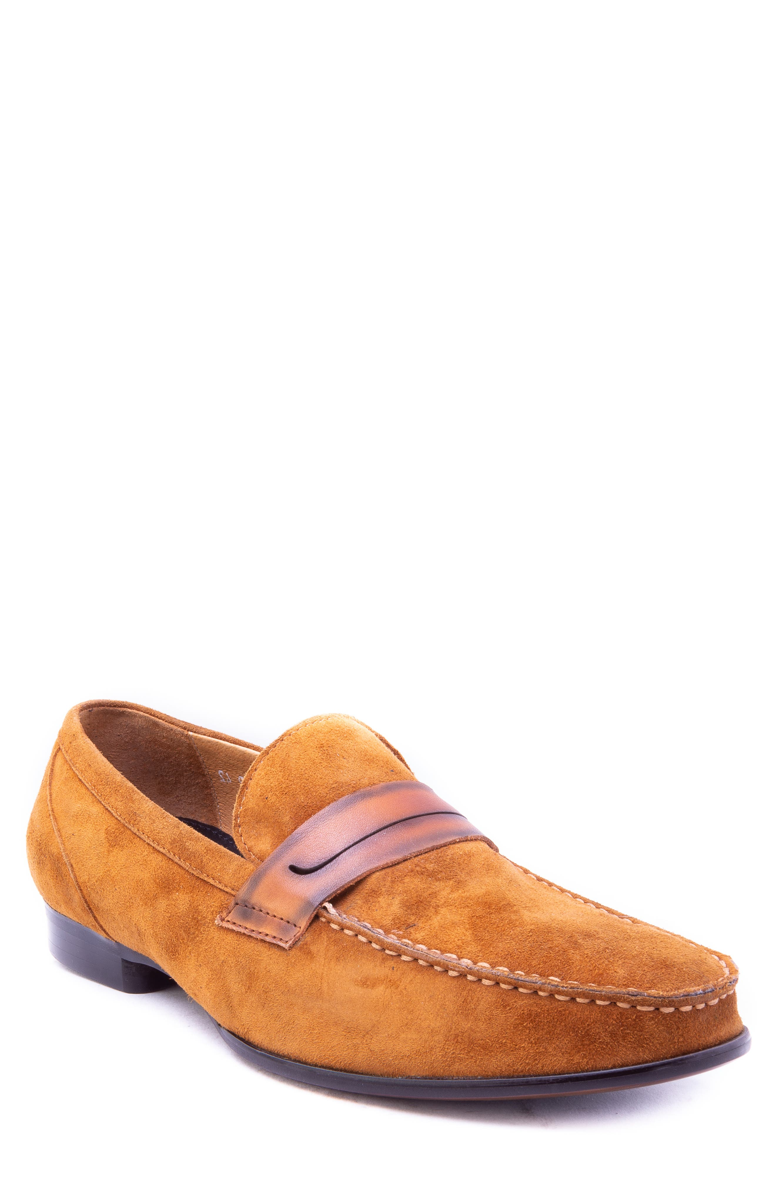 Opie Penny Loafer,                         Main,                         color, COGNAC SUEDE/ LEATHER