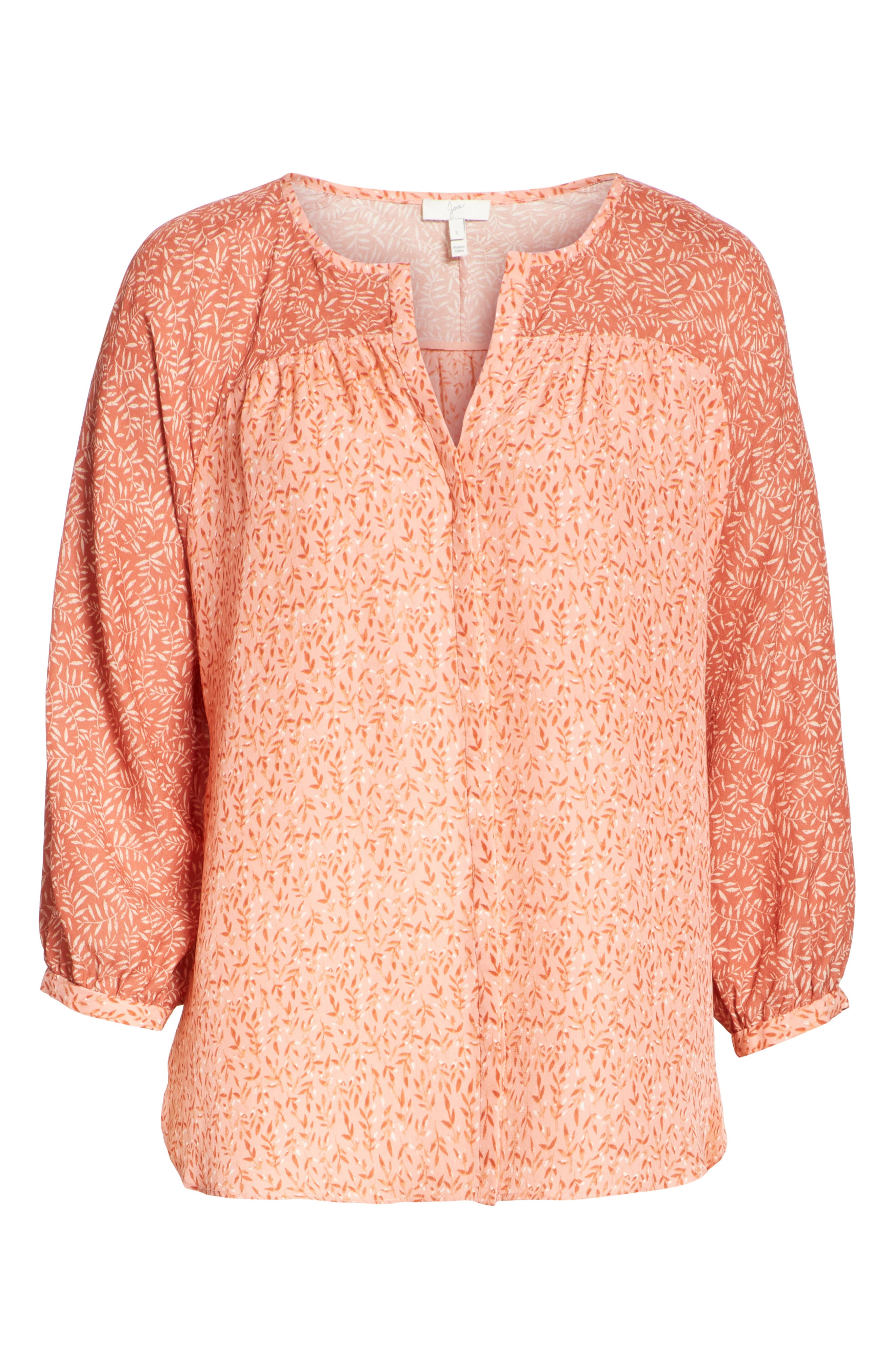 JOIE,                             Jafeth Reverse Pattern Silk Peasant Top,                             Alternate thumbnail 6, color,                             609