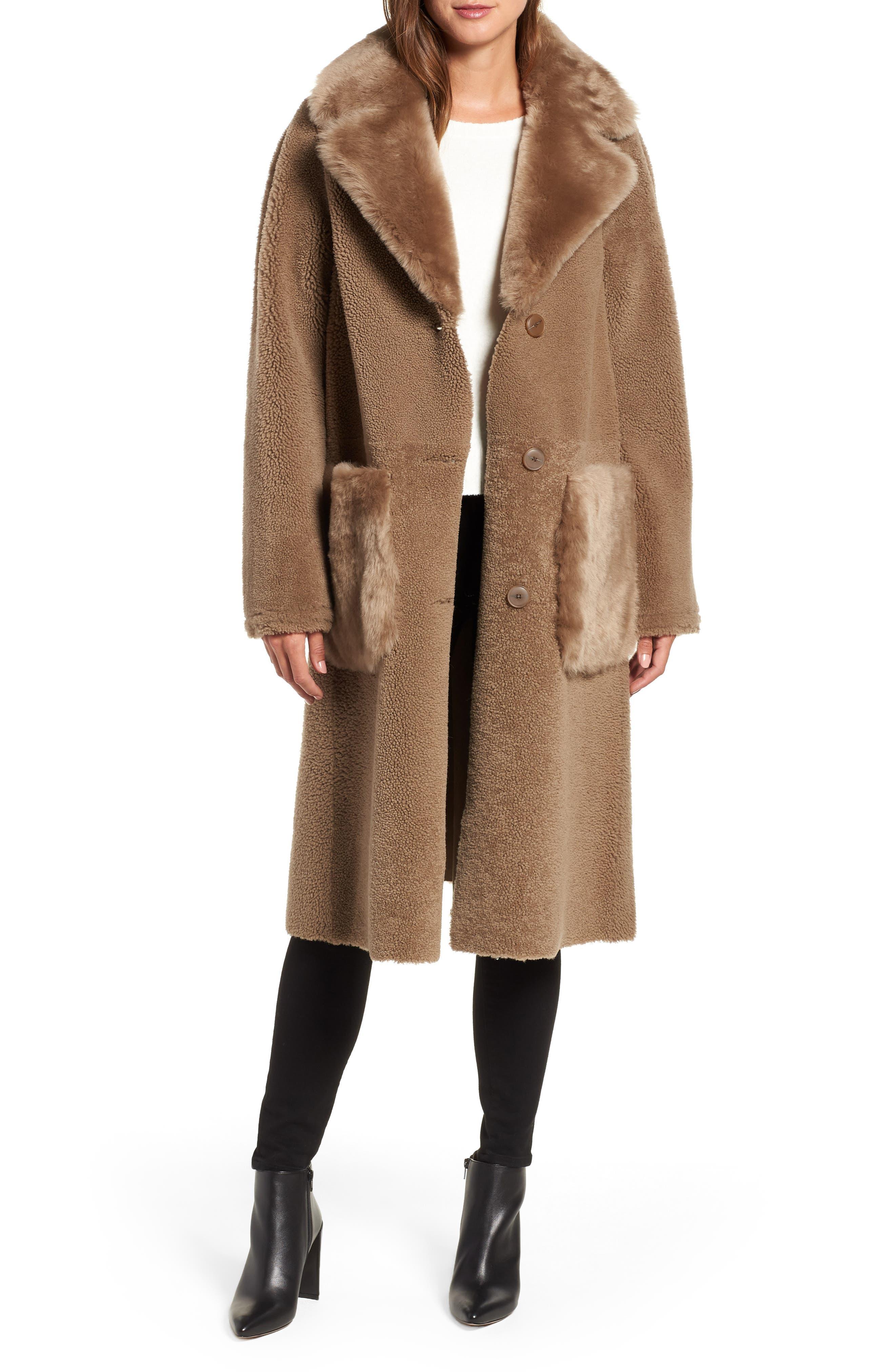 HISO,                             Genuine Merino Shearling Coat,                             Main thumbnail 1, color,                             250