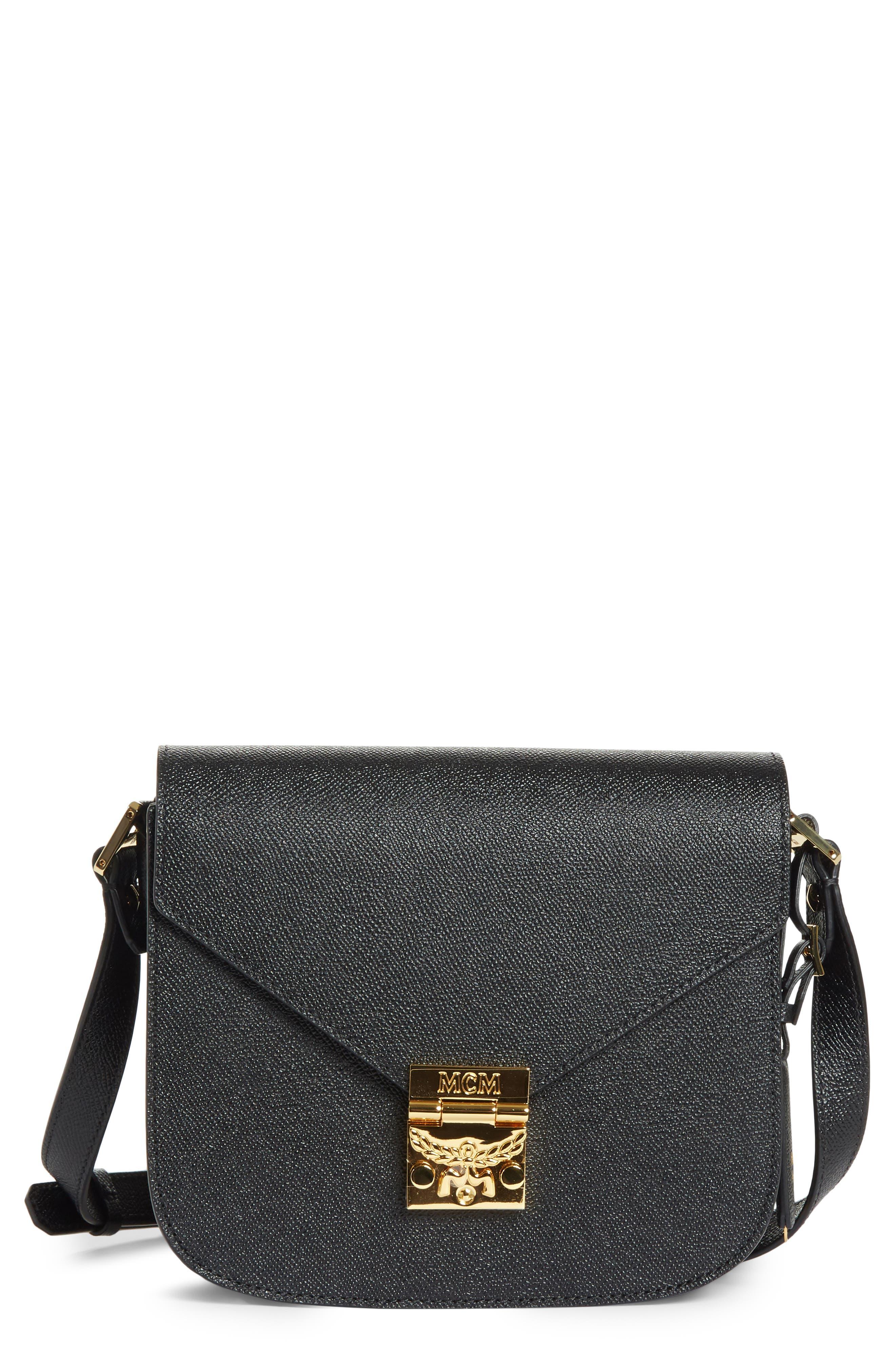 Small RGB Leather Shoulder Bag,                         Main,                         color, BLACK