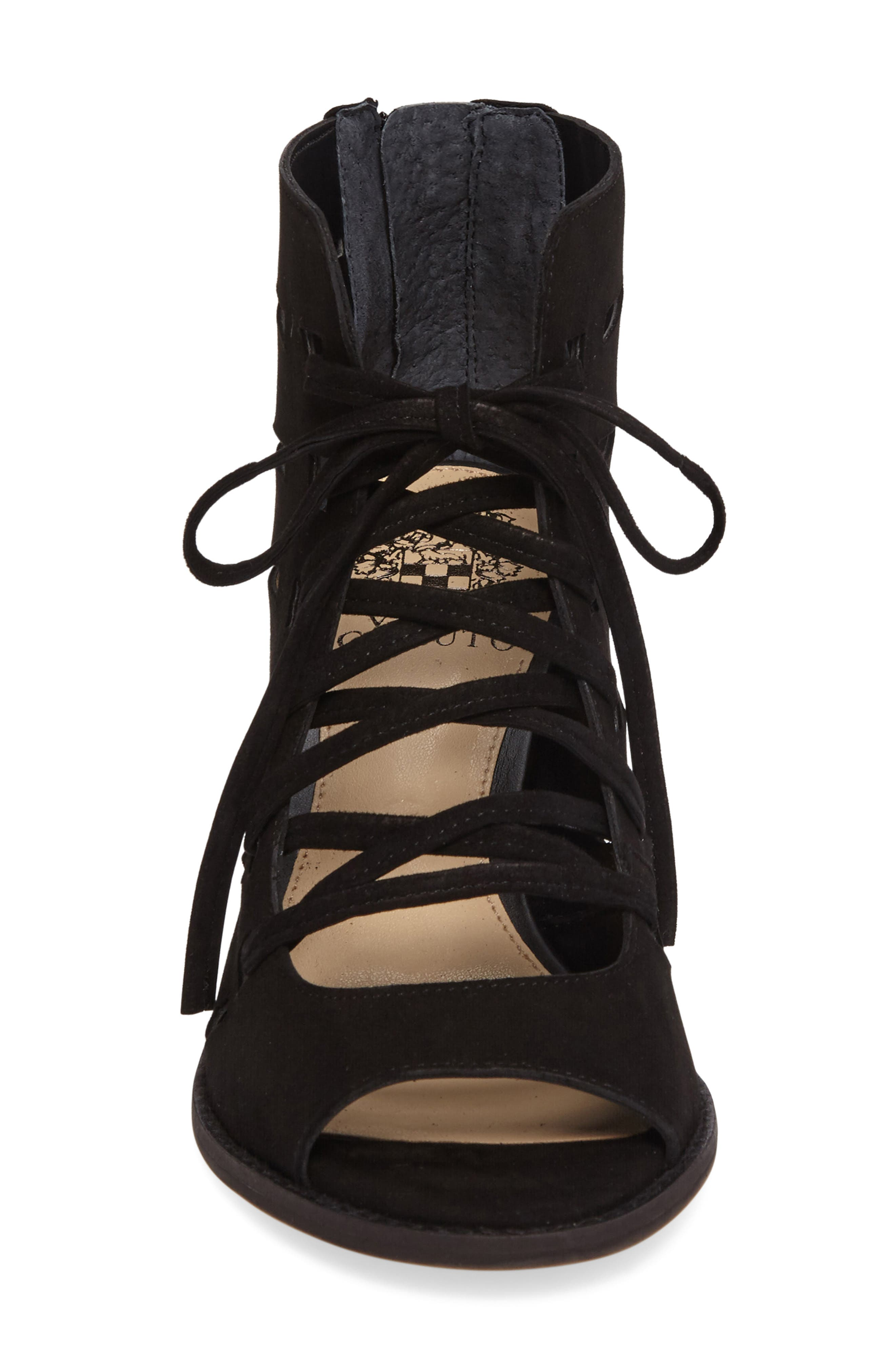 VINCE CAMUTO,                             Tressa Perforated Lace-Up Sandal,                             Alternate thumbnail 3, color,                             001