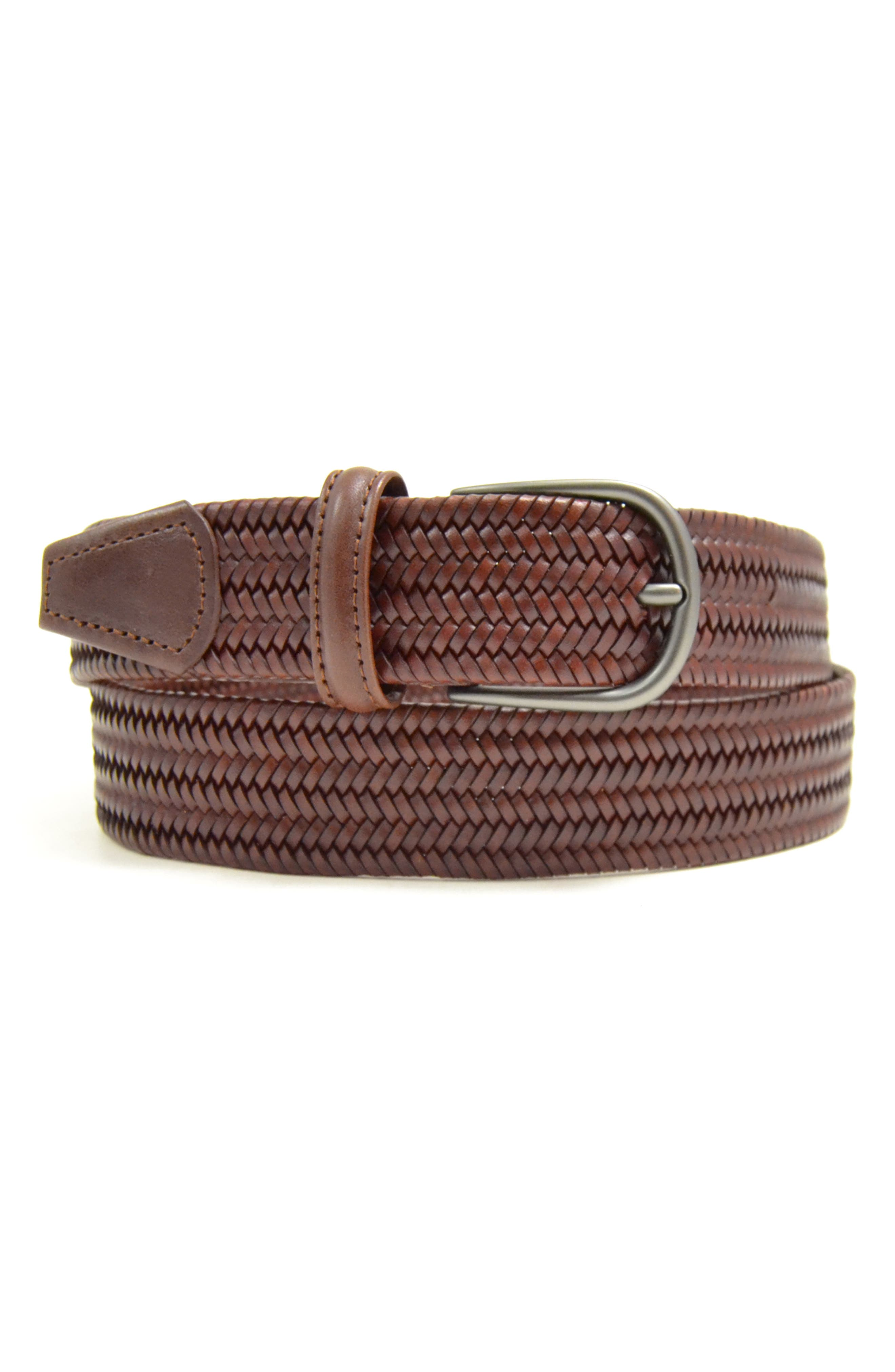 Stretch Leather Belt,                             Main thumbnail 1, color,                             MID BROWN