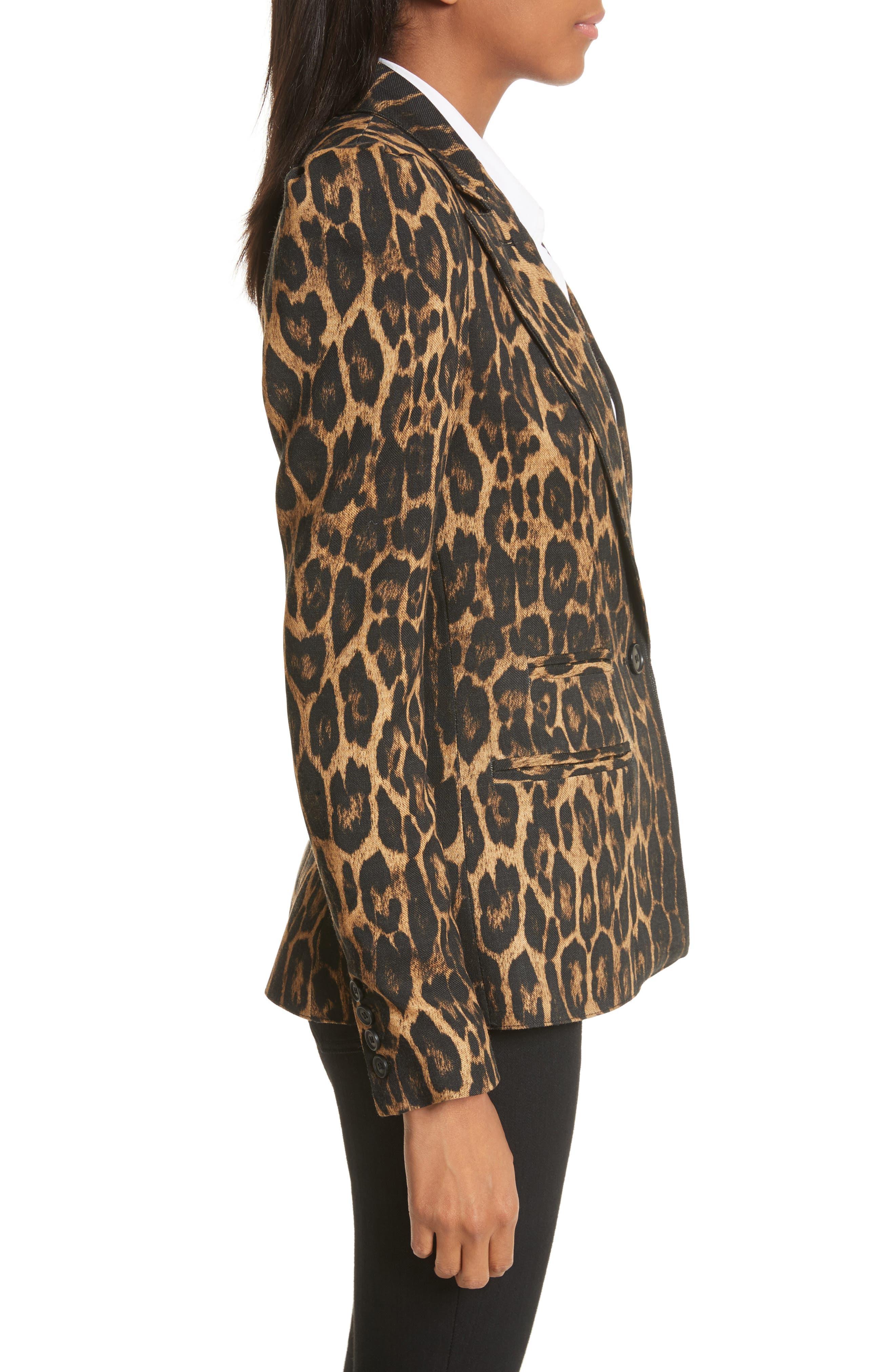 Leopard Puff Shoulder Wool Blazer,                             Alternate thumbnail 3, color,