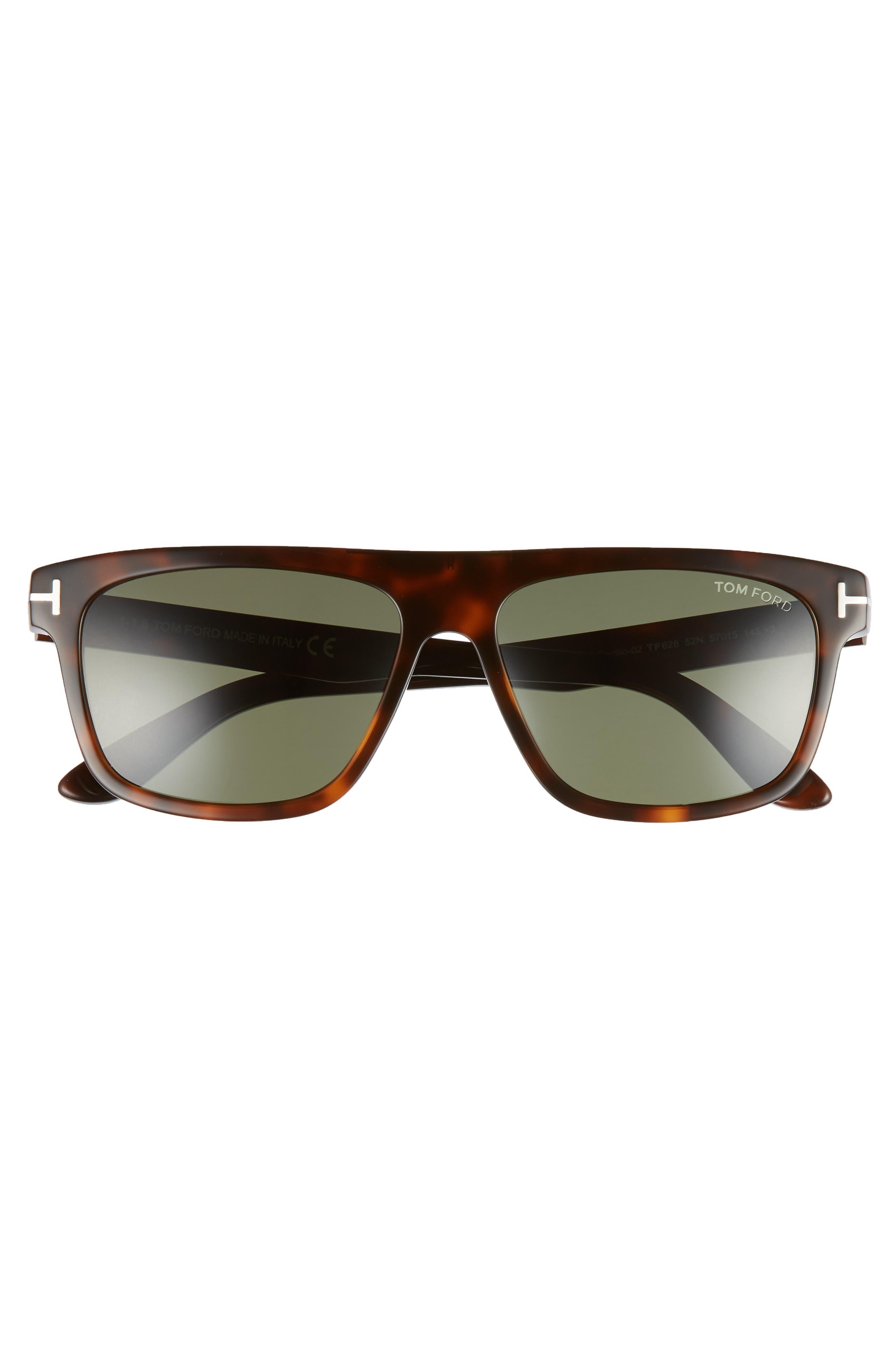 Cecilio 57mm Blue Block Optical Glasses,                             Alternate thumbnail 3, color,                             DARK HAVANA/ GREEN