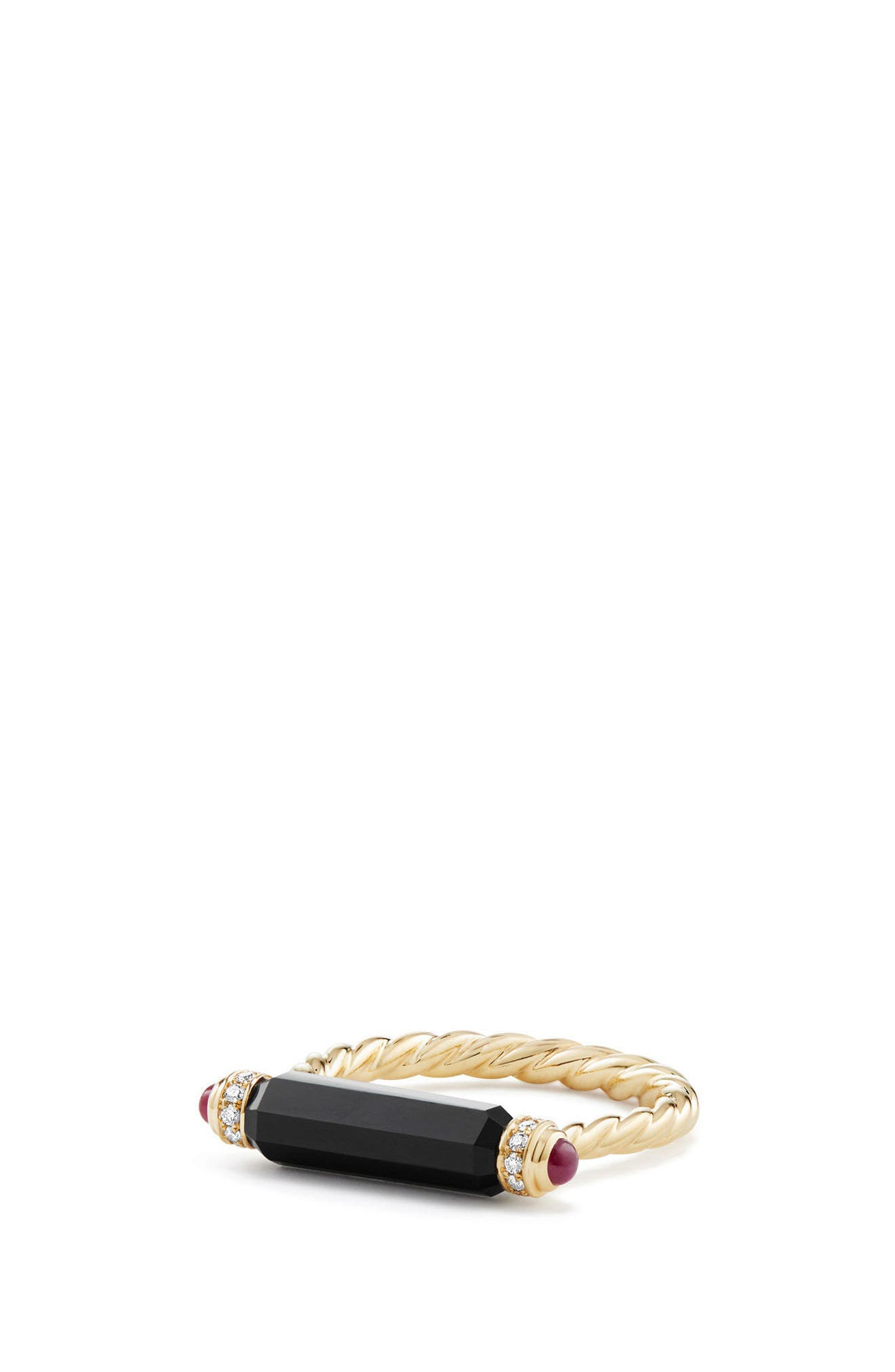 Barrels Ring with Diamonds in 18K Gold,                         Main,                         color, BLACK ONYX