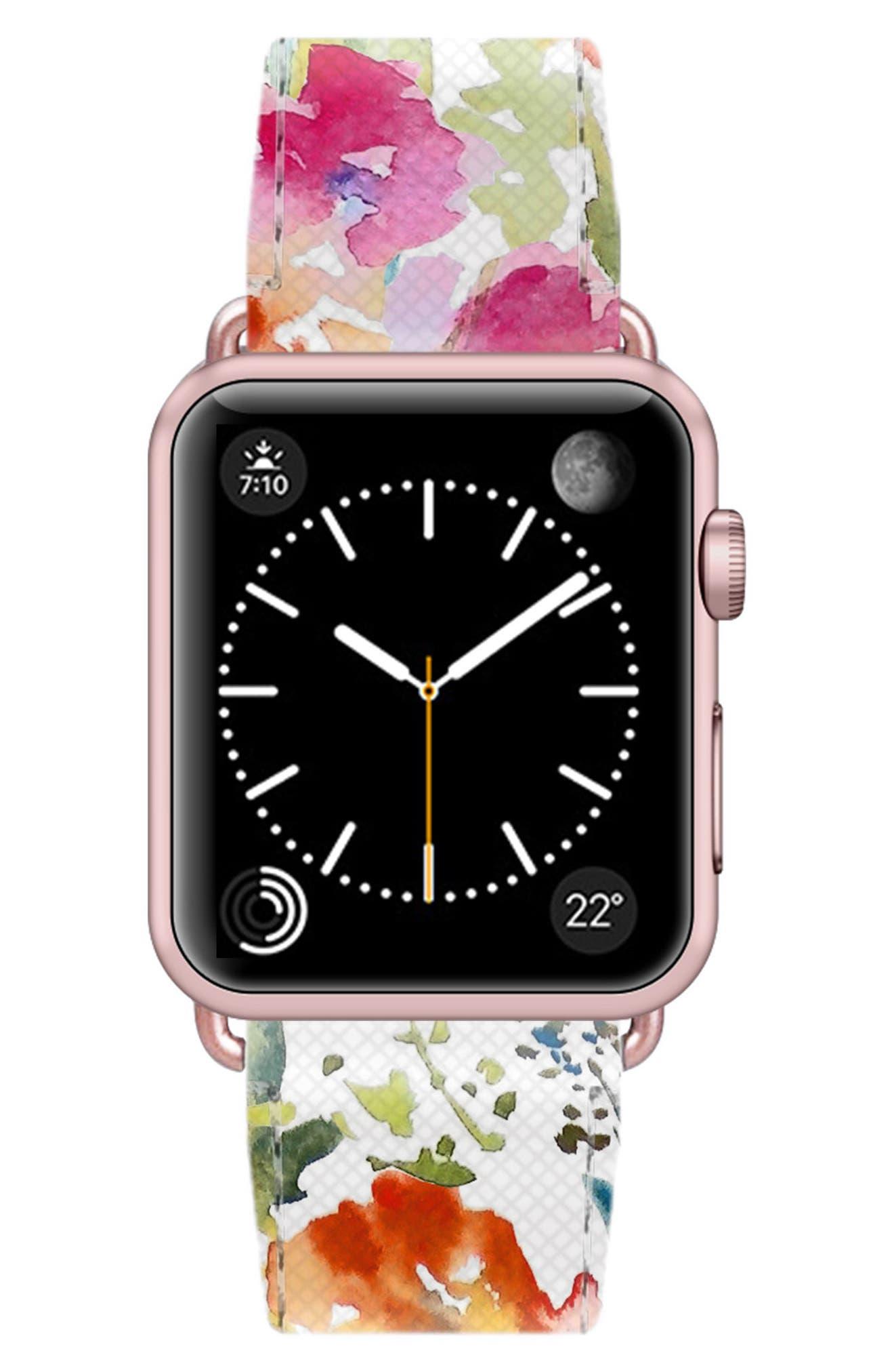 Saffiano Faux Leather Apple Watch Strap,                             Alternate thumbnail 33, color,