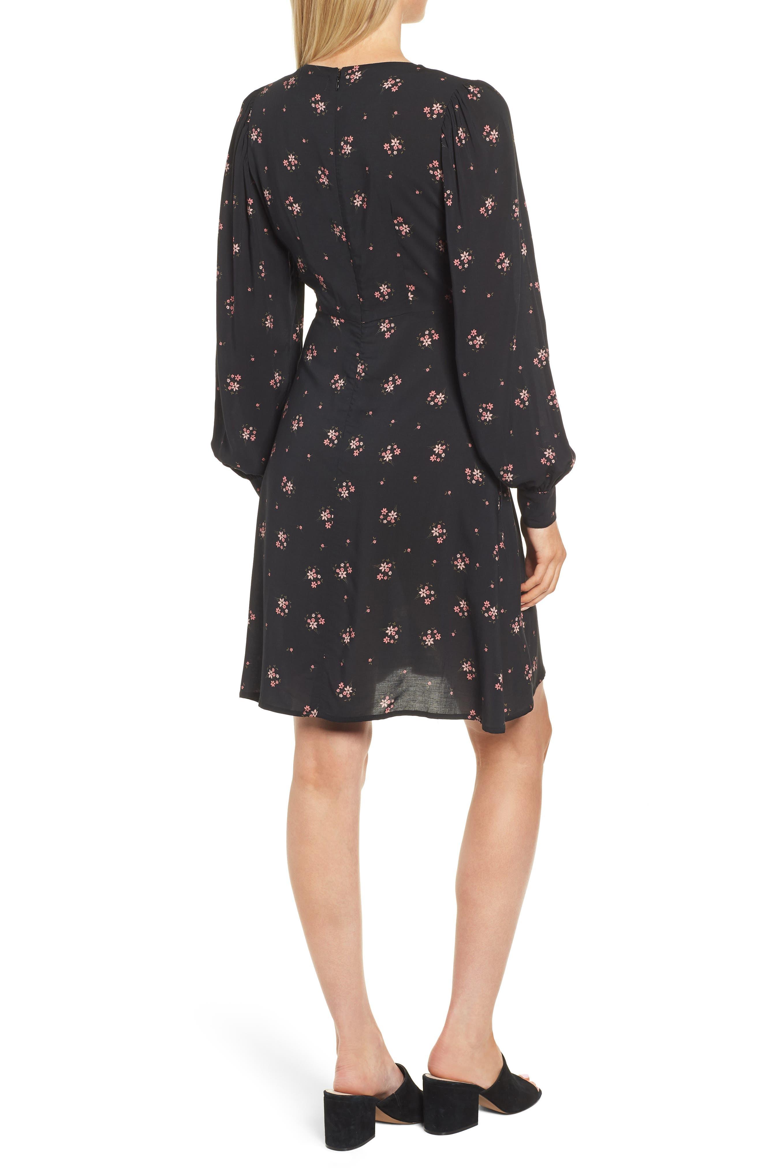 Floral Blouson Sleeve Dress,                             Alternate thumbnail 2, color,                             CAMELLIA