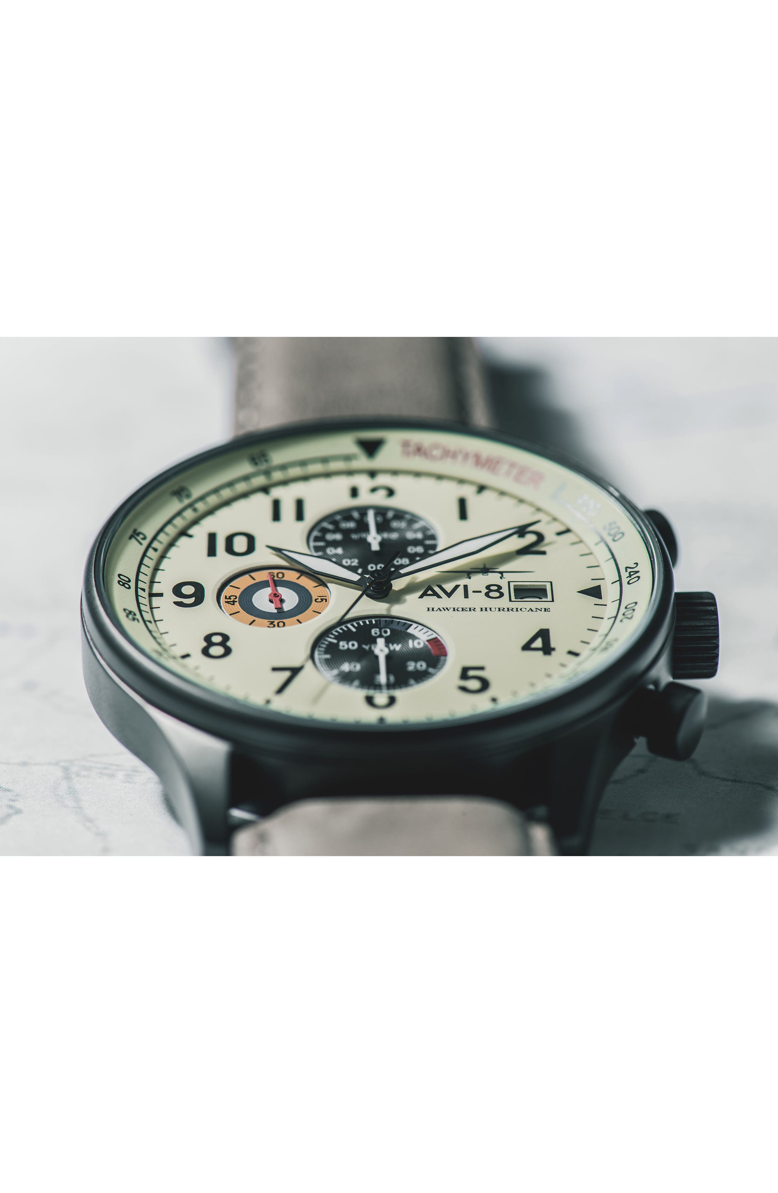 Hawker Hurricane Chronograph Leather Strap Watch, 42mm,                             Alternate thumbnail 5, color,