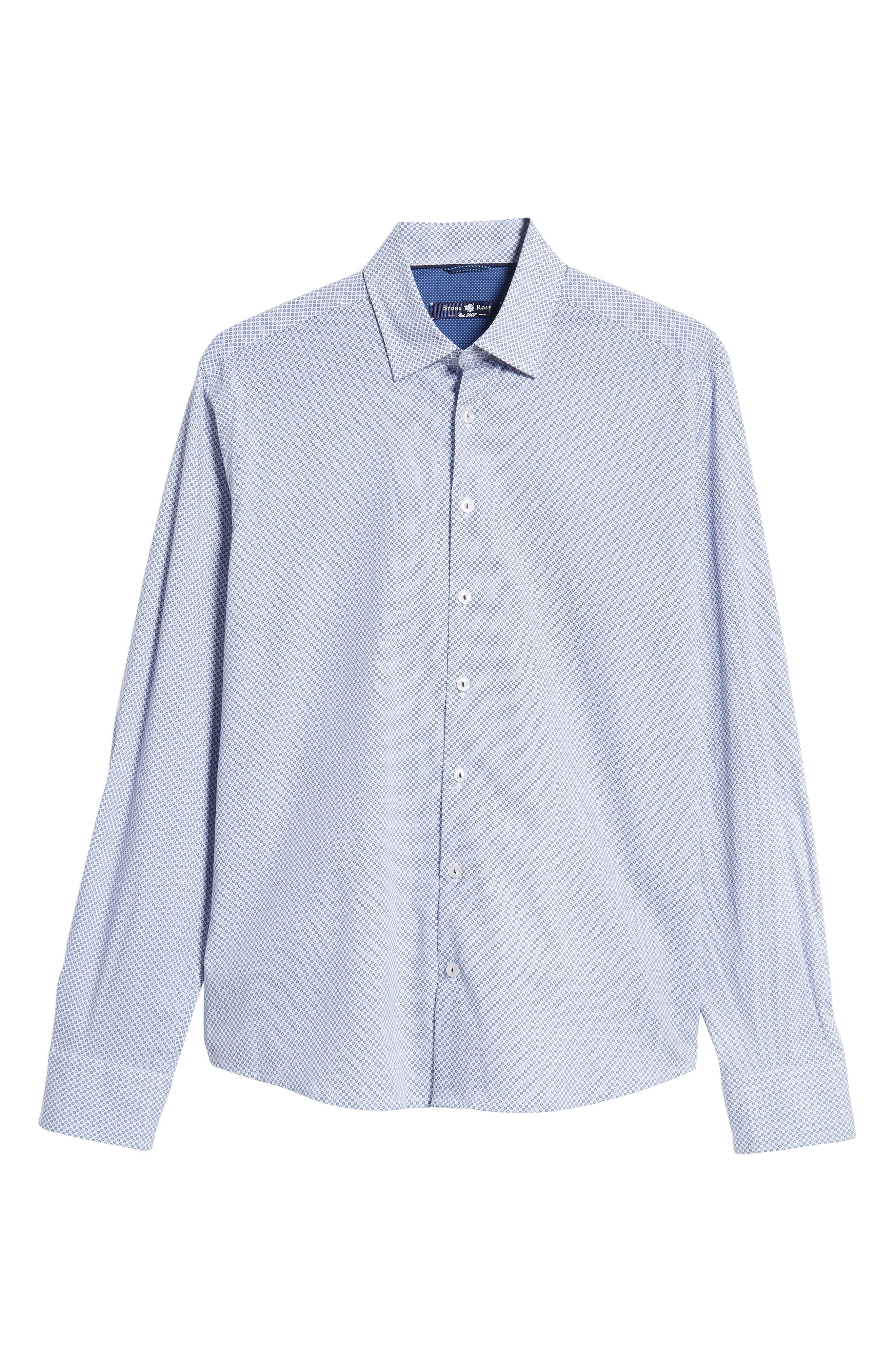 Regular Fit Geometric Print Sport Shirt,                             Alternate thumbnail 5, color,                             WHITE