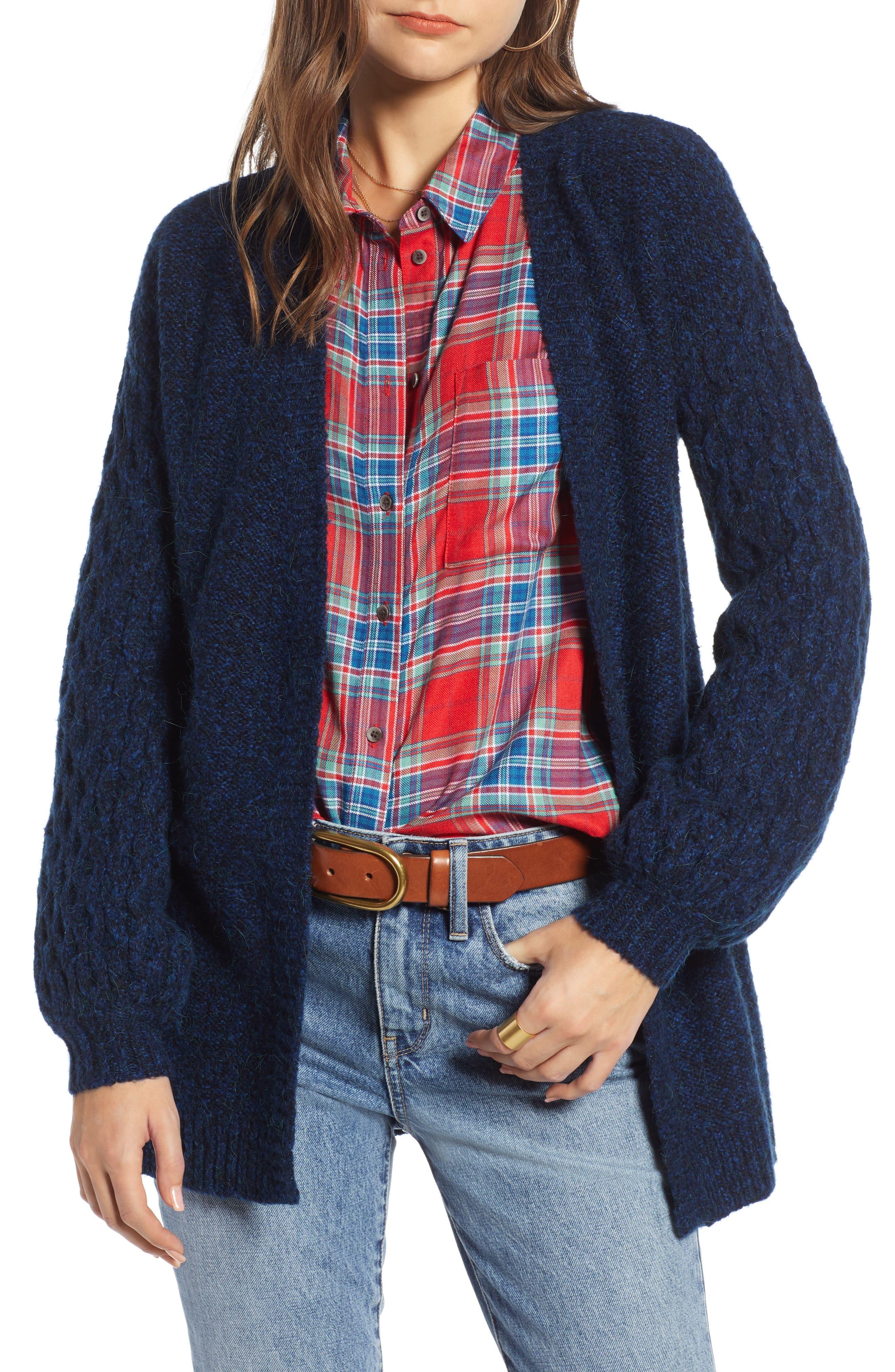 Treasure & Bond Chunky Knit Open Front Cardigan, Blue
