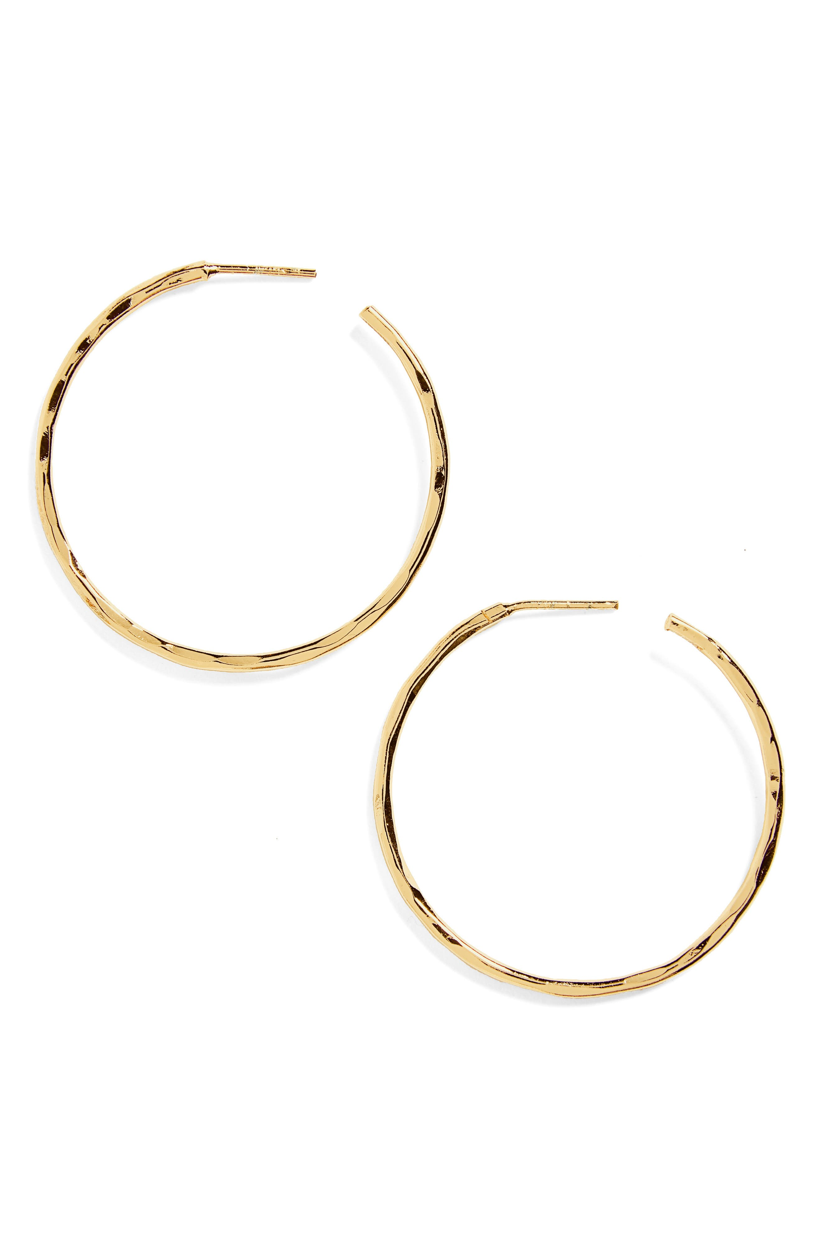 Medium Hammered Hoop Earrings,                             Alternate thumbnail 2, color,                             GOLD