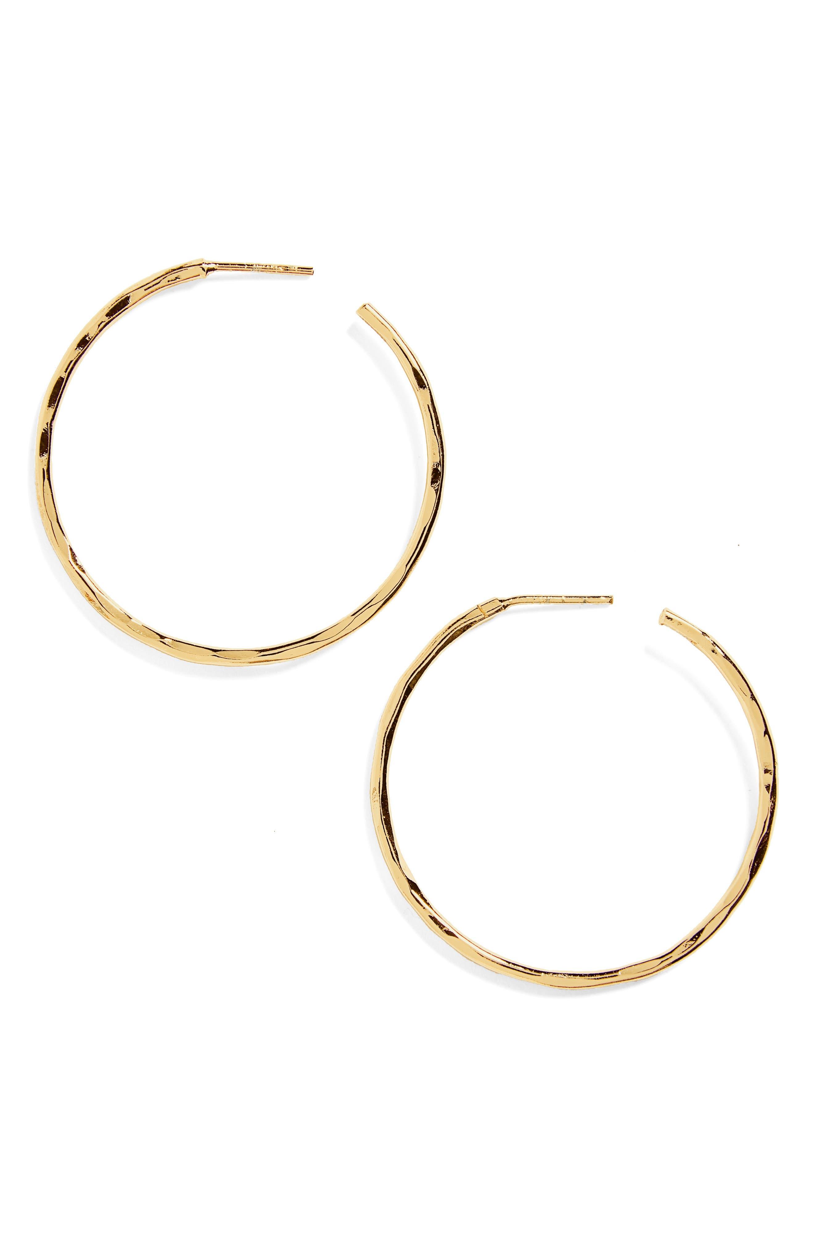 Medium Hammered Hoop Earrings,                         Main,                         color, GOLD