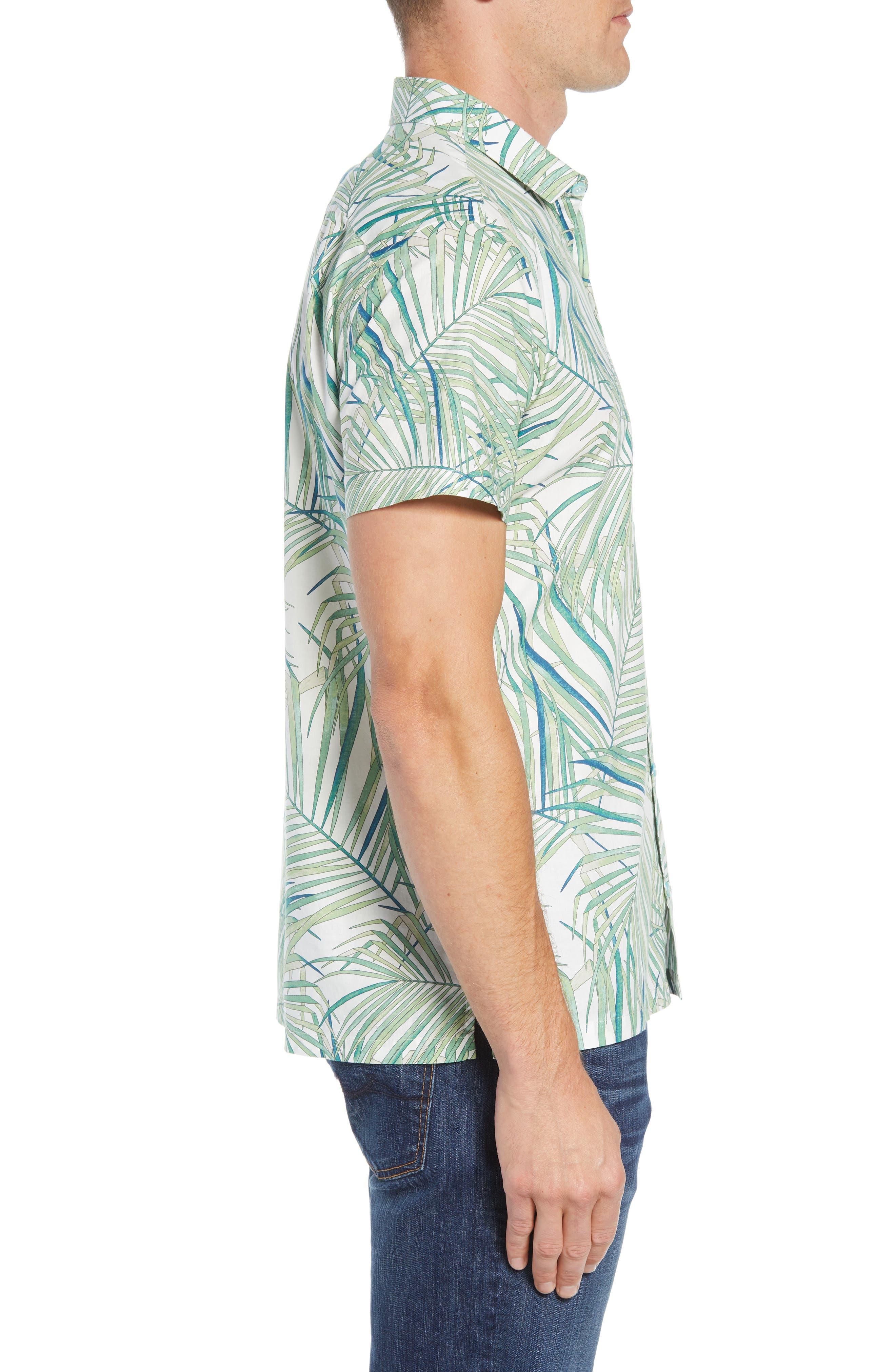 Kentia Trim Fit Palm Print Sport Shirt,                             Alternate thumbnail 3, color,                             100
