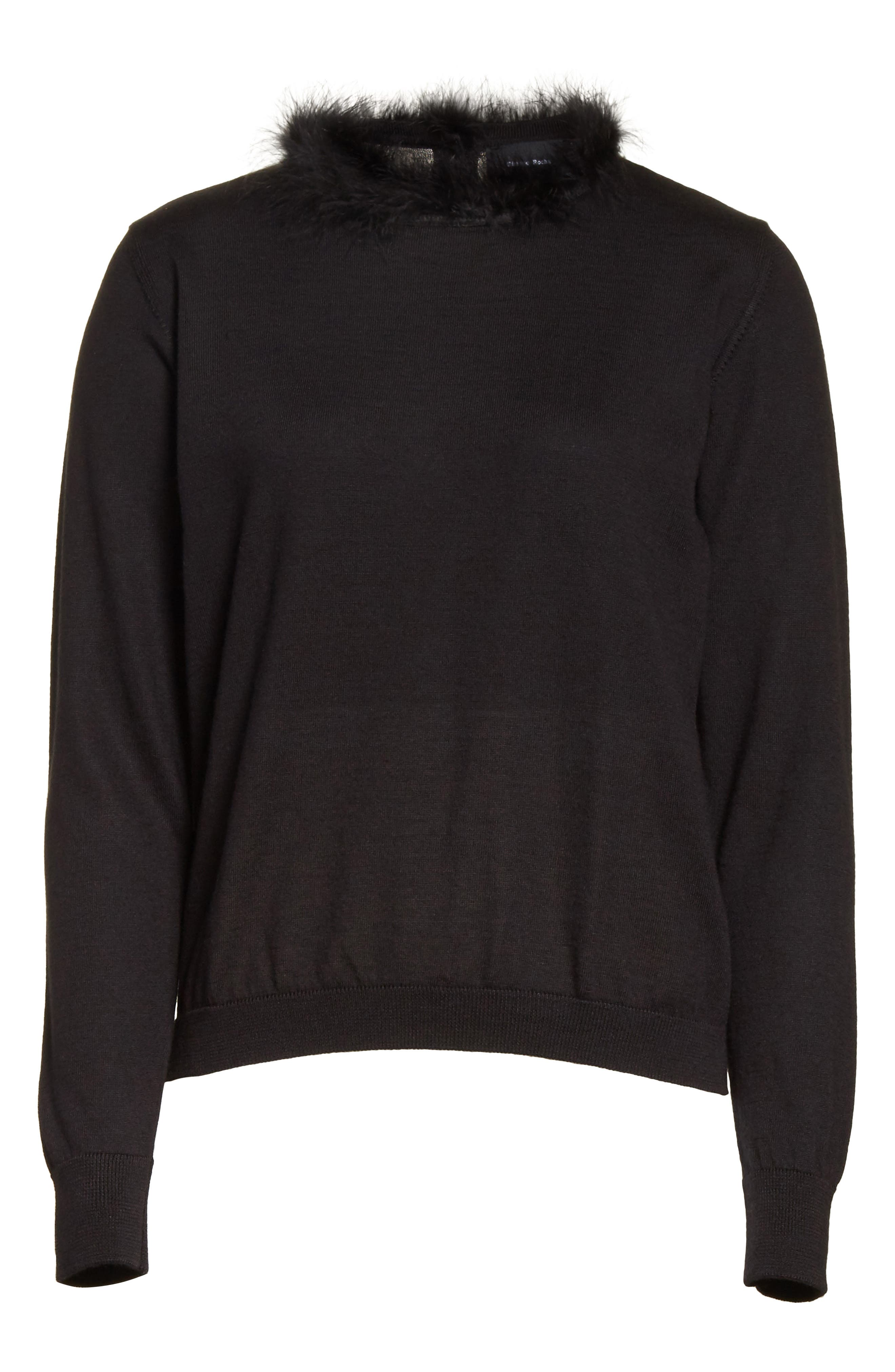 Teddy Open Back Sweater with Feather Trim,                             Alternate thumbnail 6, color,                             001