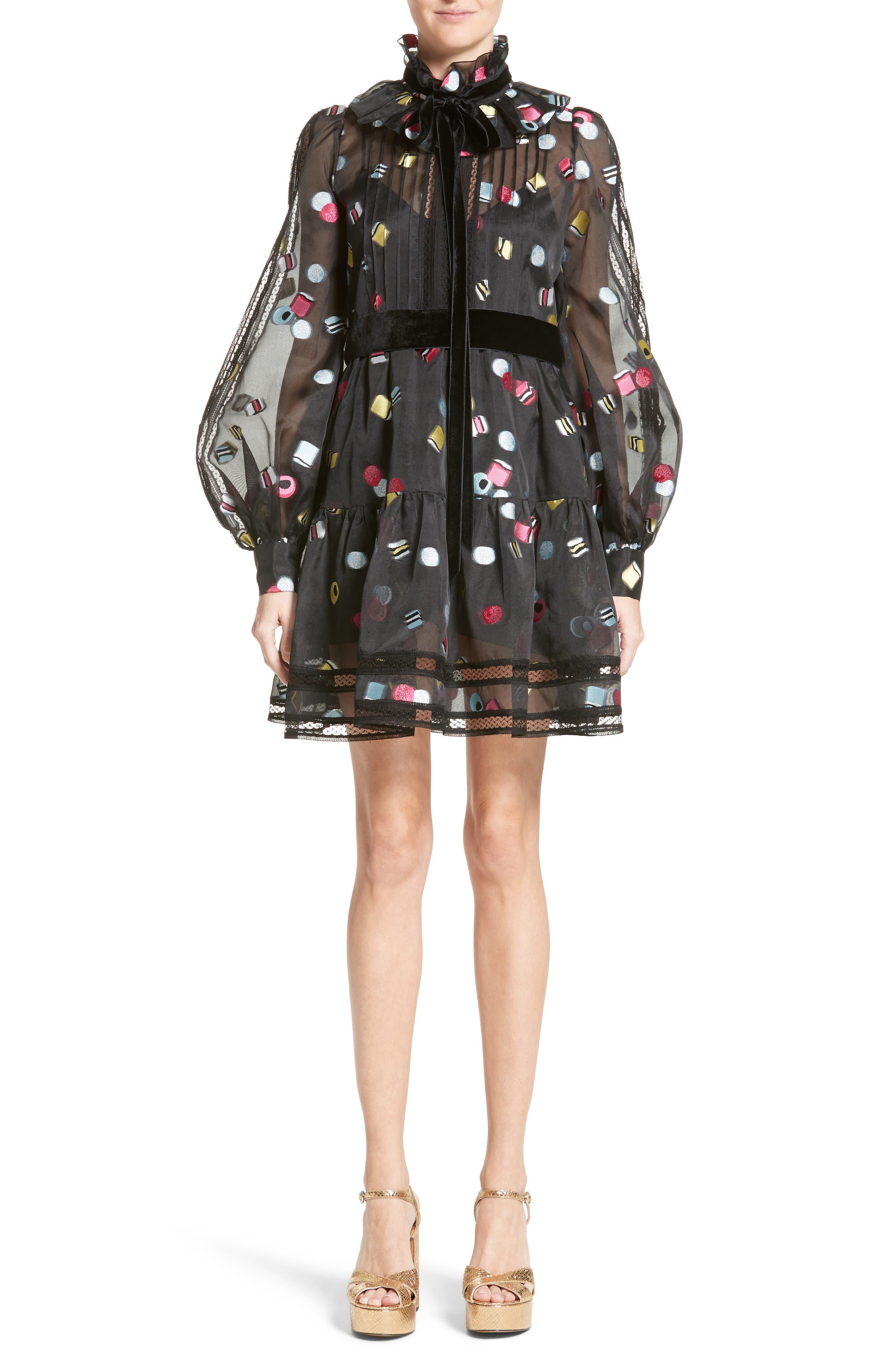 Licorice Fil Coupé Balloon Sleeve Dress,                         Main,                         color, 001