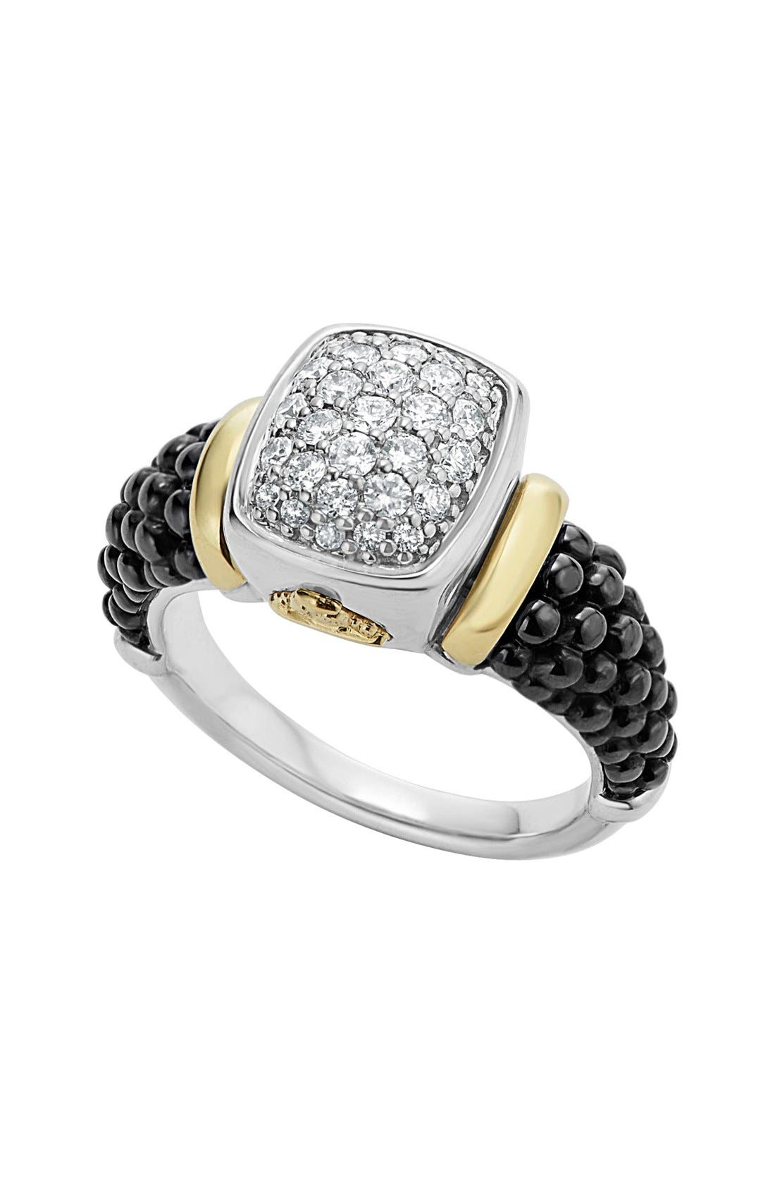 'Caviar' Diamond Ring,                         Main,                         color, BLACK/ GOLD