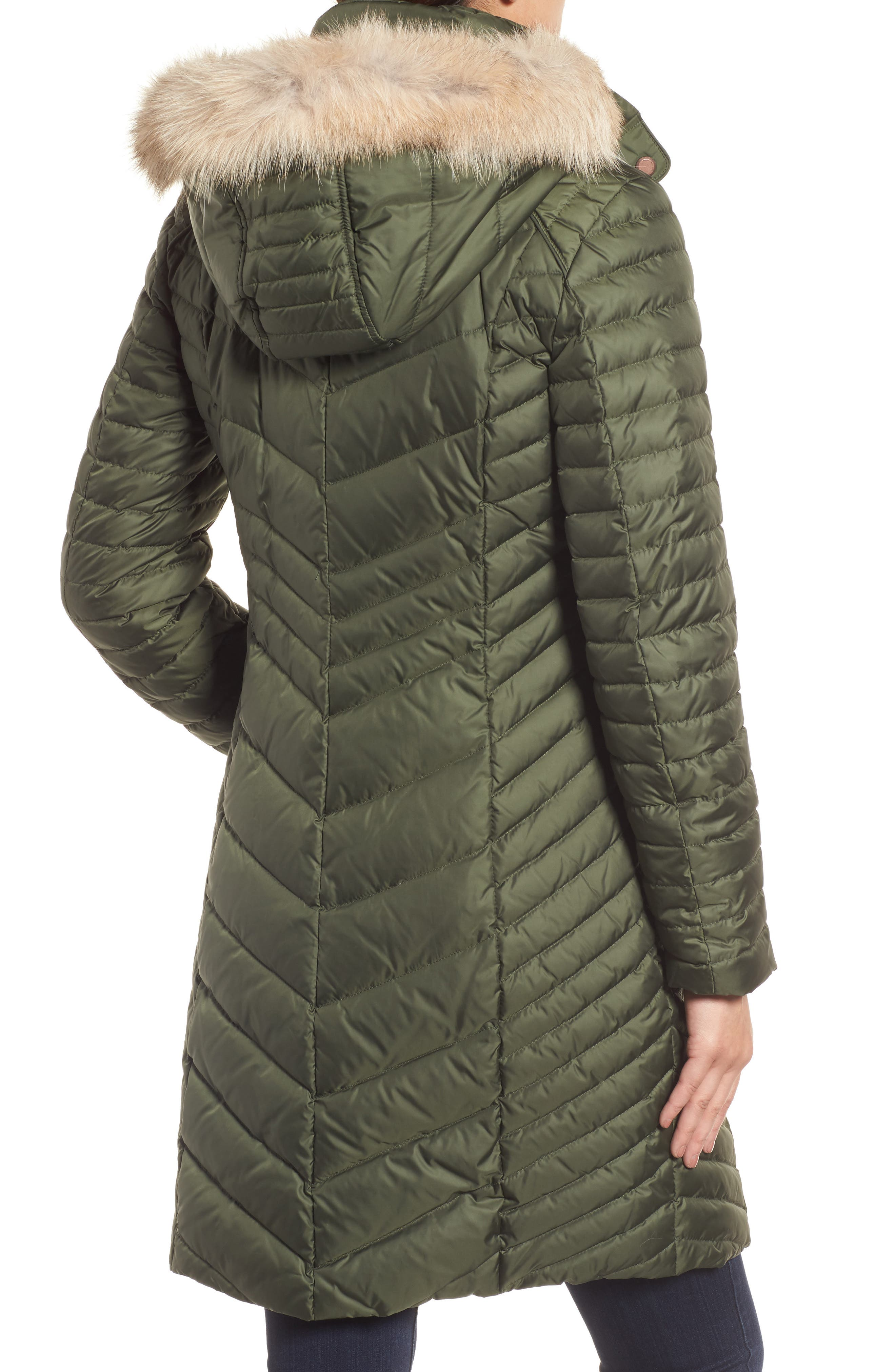 Chevron Quilted Coat with Genuine Coyote Fur Trim,                             Alternate thumbnail 5, color,