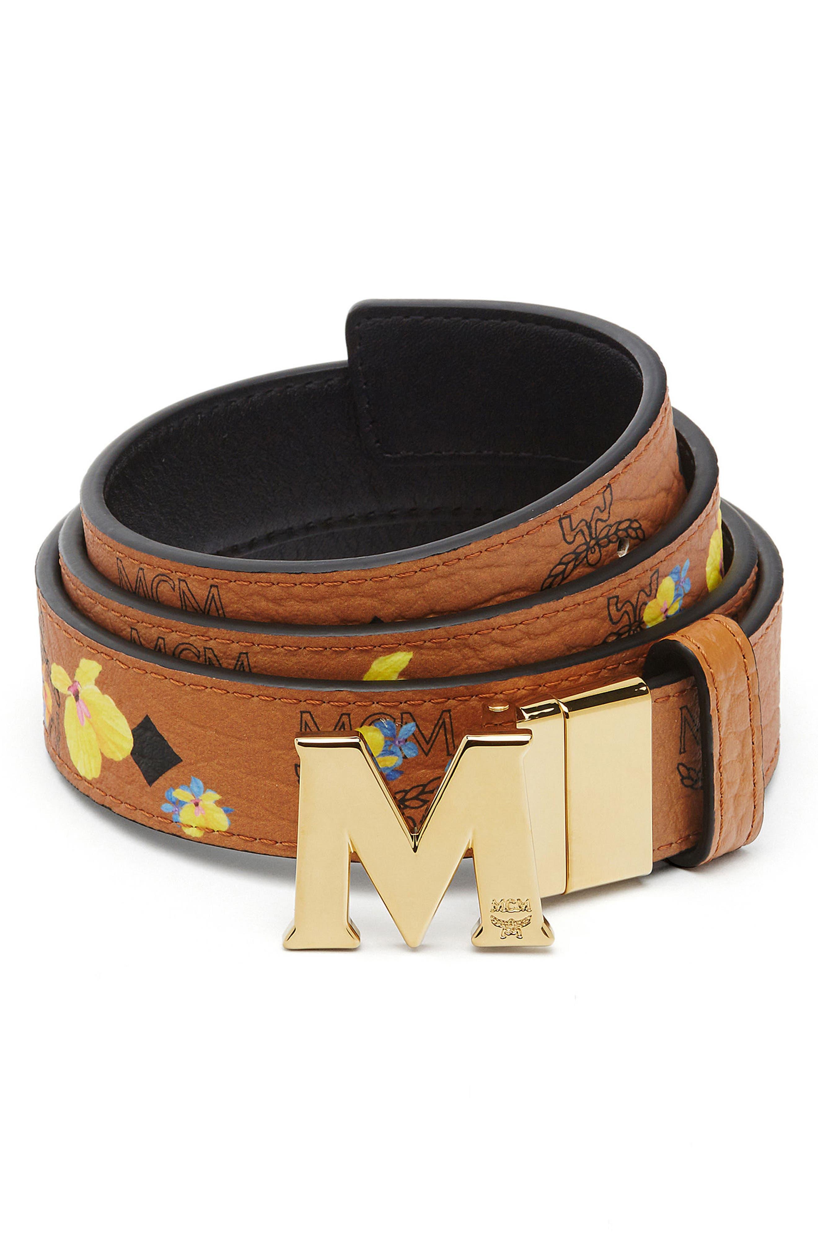 Essential Floral Flat M Logo Buckle Reversible Belt,                             Main thumbnail 1, color,                             210