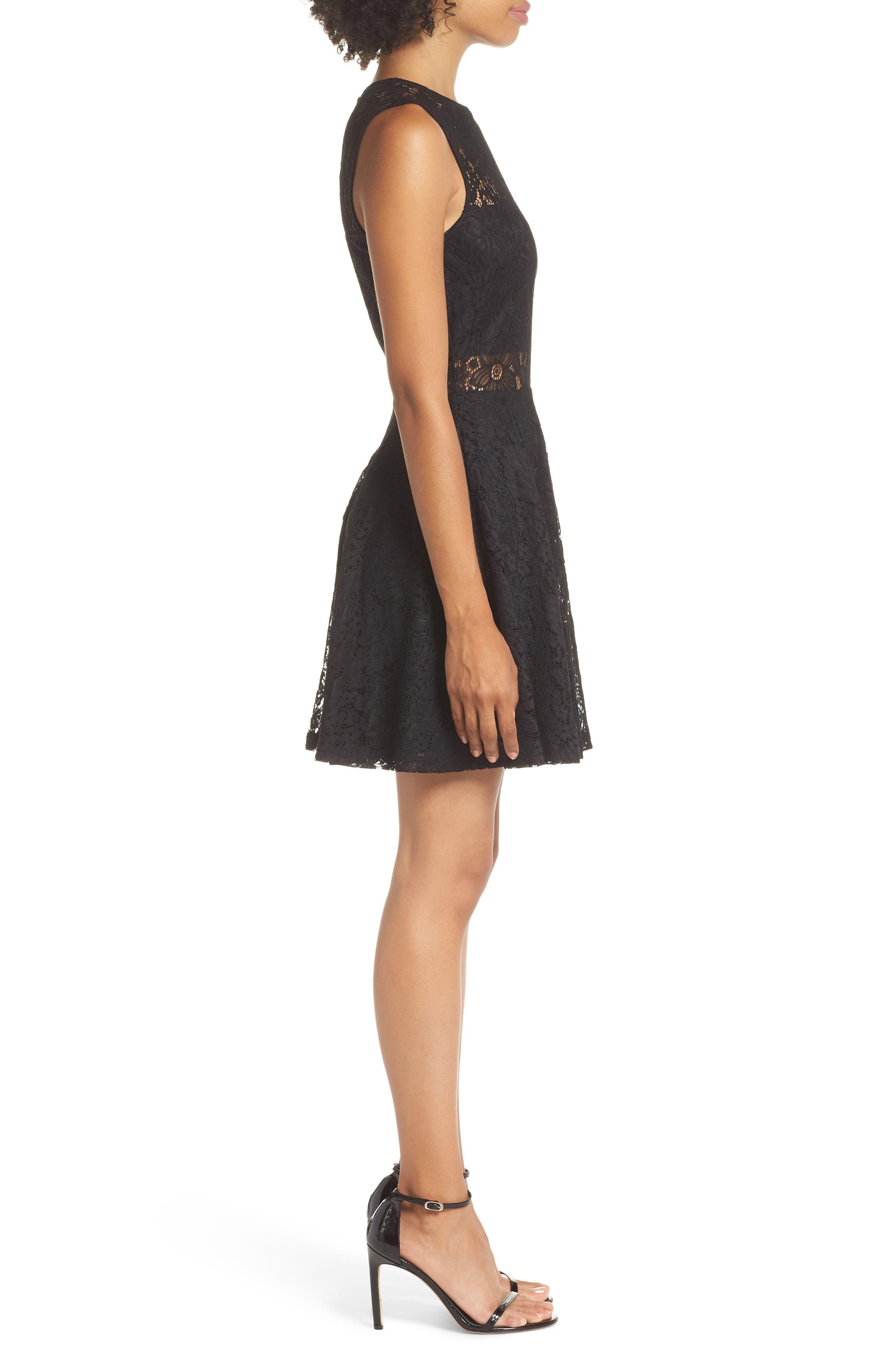 Lace Skater Dress,                             Alternate thumbnail 3, color,                             BLACK