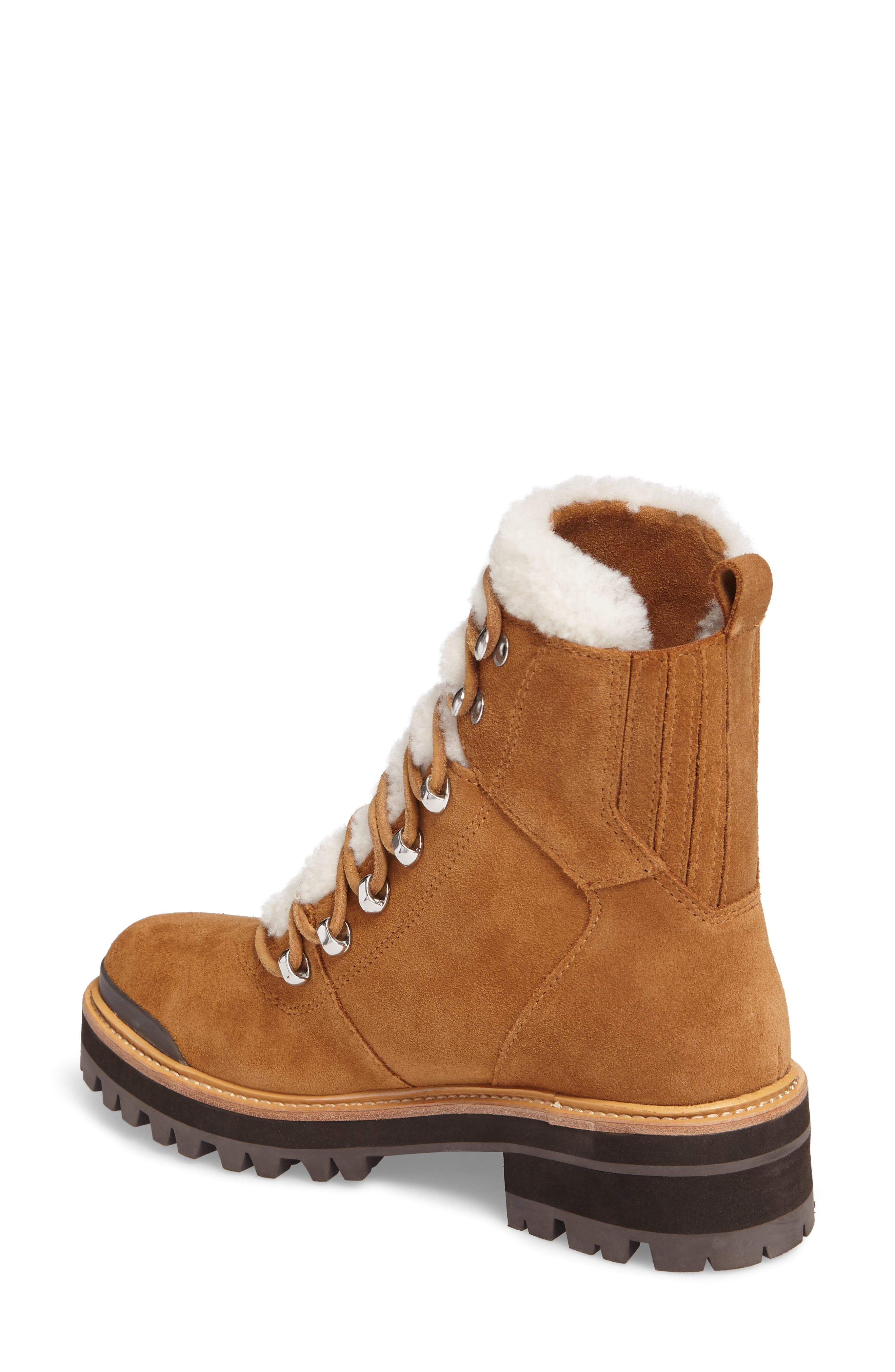Izzie Genuine Shearling Lace-Up Boot,                             Alternate thumbnail 2, color,                             COGNAC SUEDE
