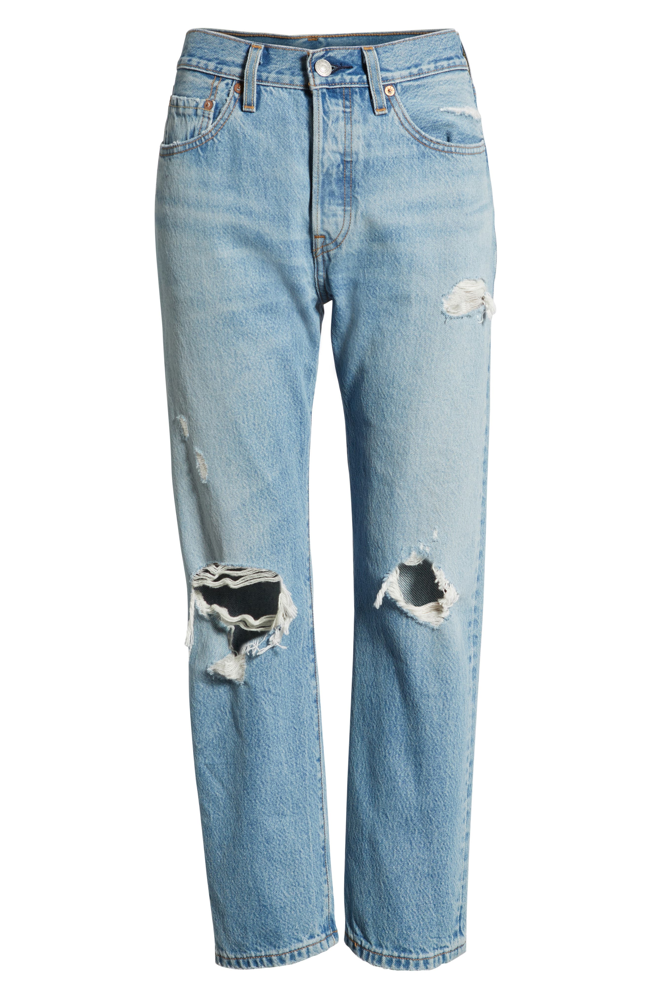 501<sup>®</sup> Ripped High Waist Crop Jeans,                             Alternate thumbnail 7, color,                             420