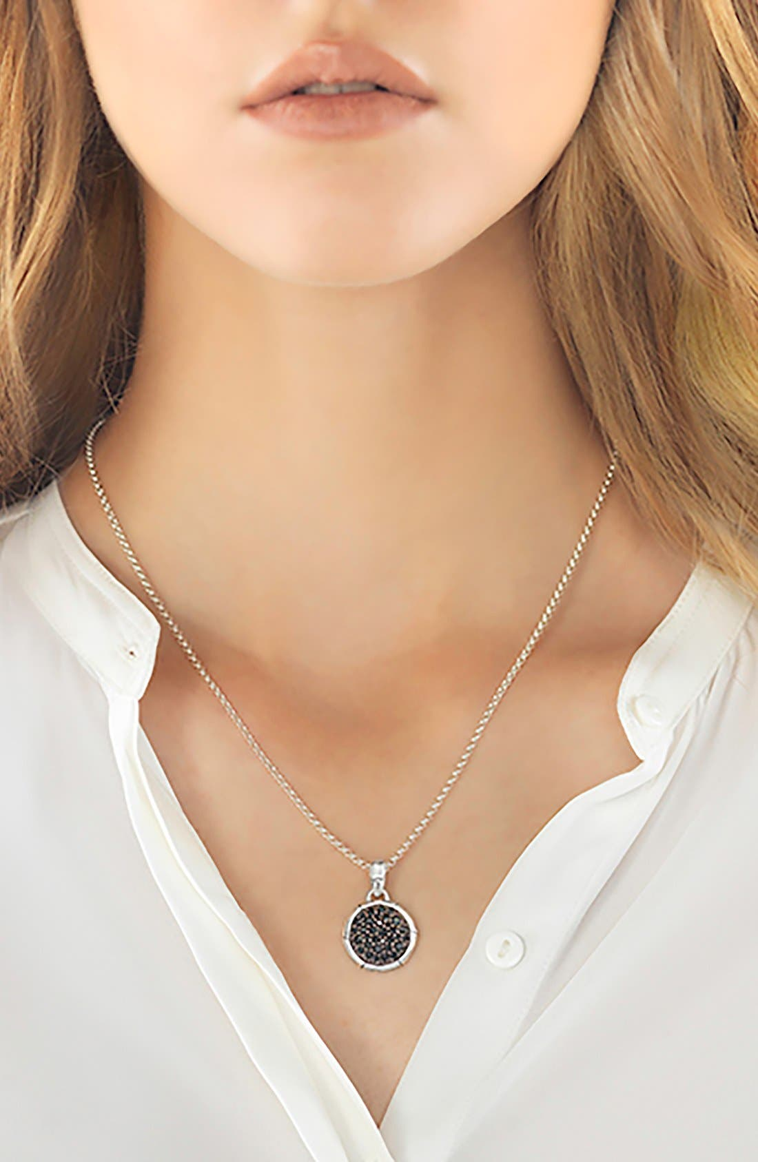 'Bamboo' Small Round Pendant Necklace,                             Alternate thumbnail 2, color,                             BLACK SAPPHIRE