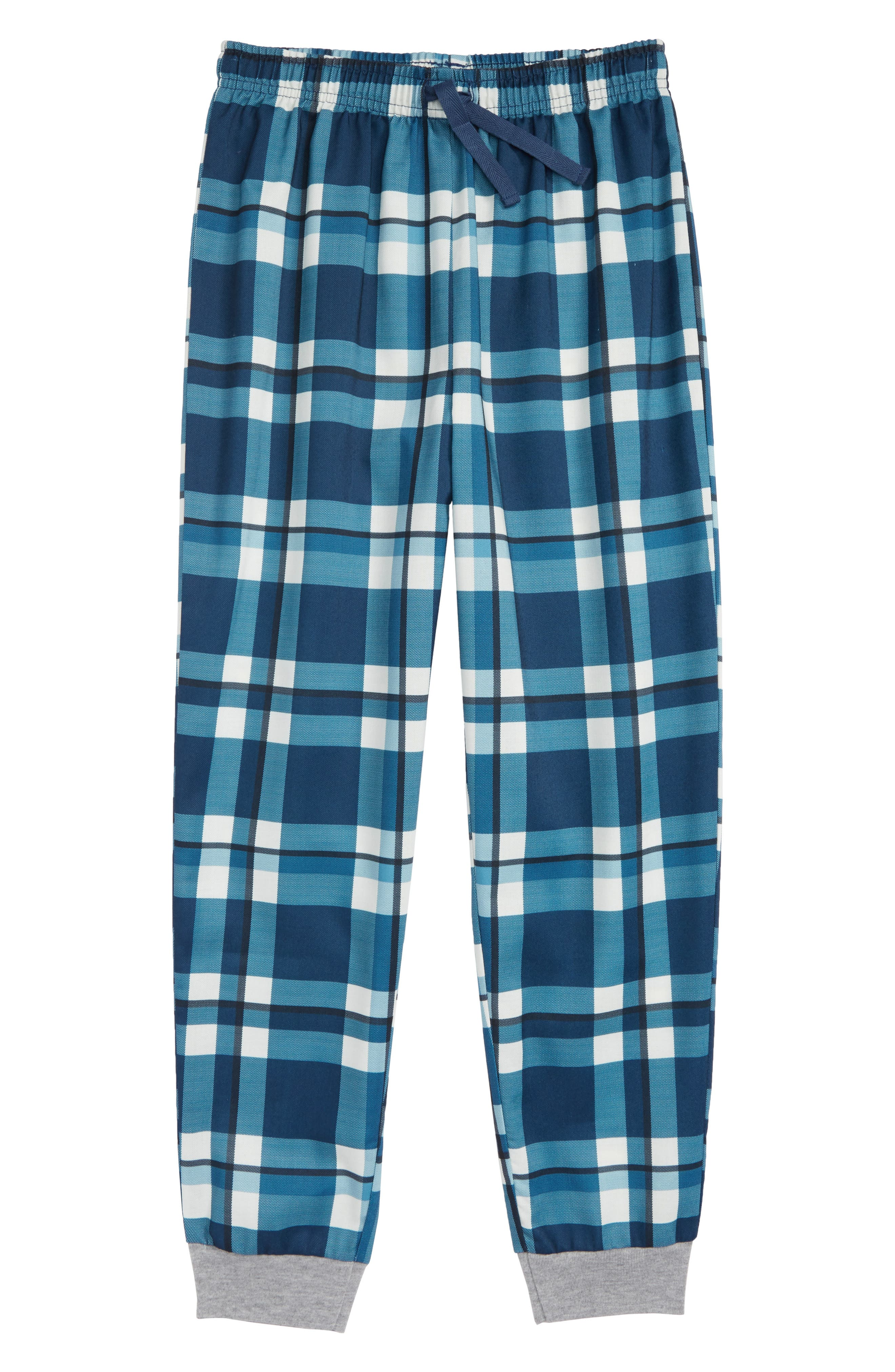 Flannel Jogger Pants,                         Main,                         color, BLUE WING- IVORY PLAID