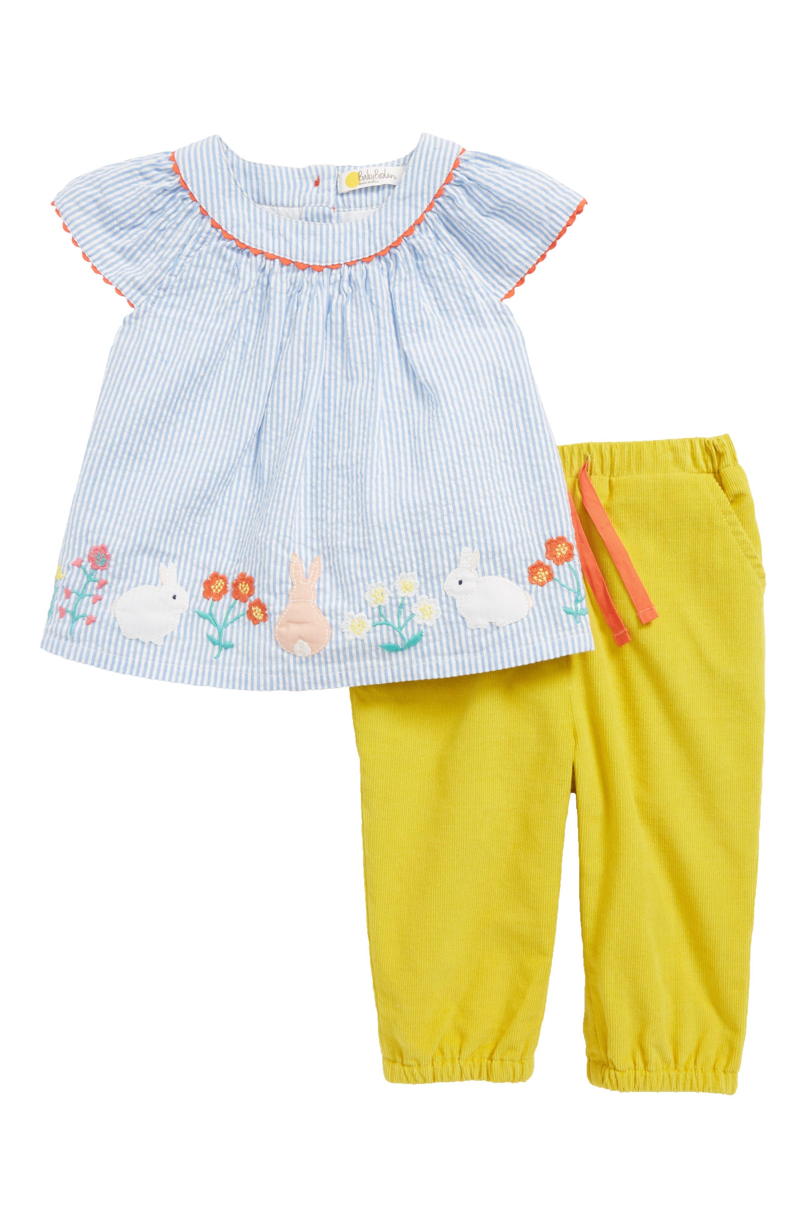 Pretty Woven Stripe Top & Corduroy Pants Set,                             Main thumbnail 1, color,                             424