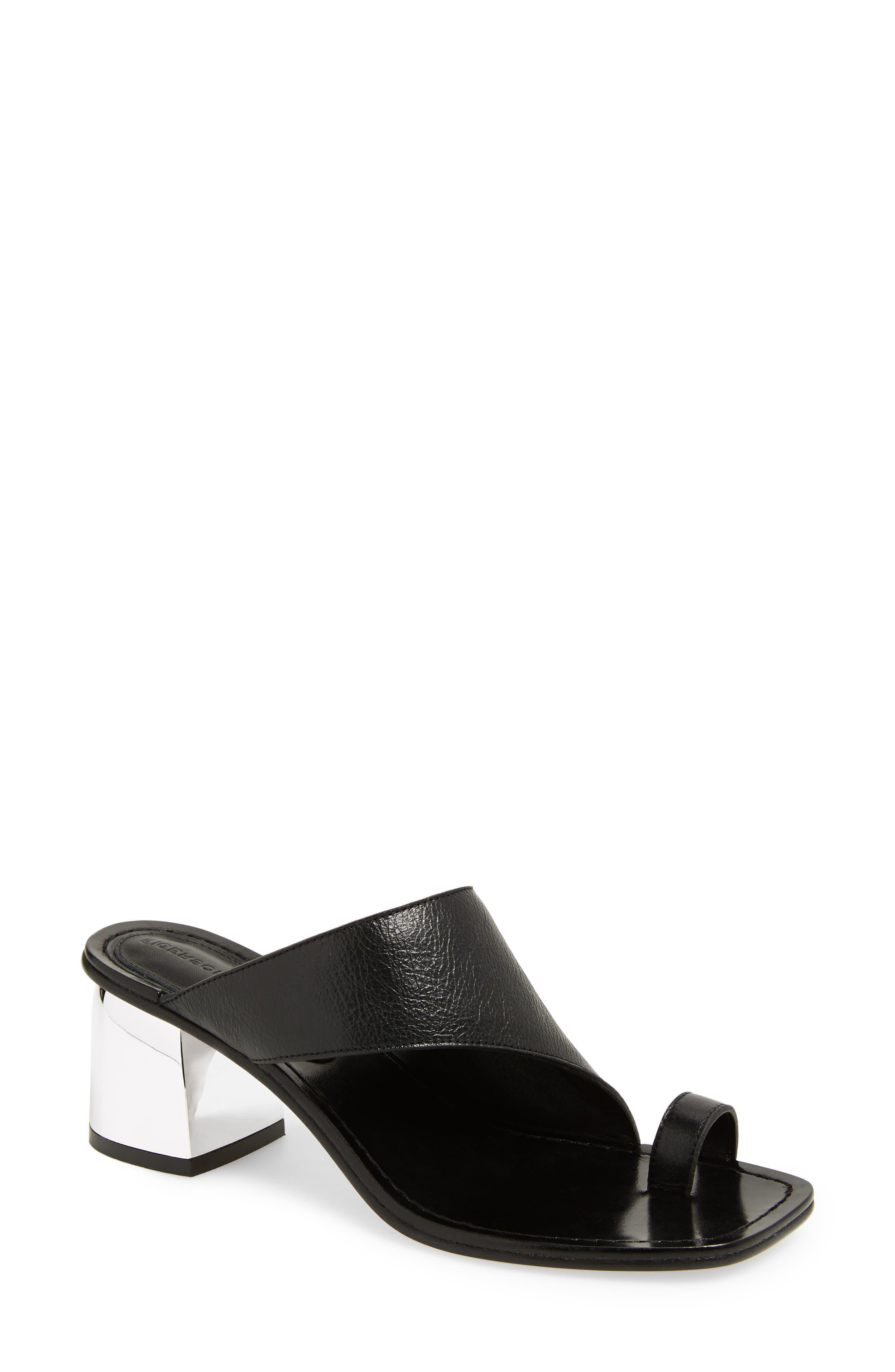 Block Heel Toe Loop Sandal,                             Main thumbnail 1, color,                             001