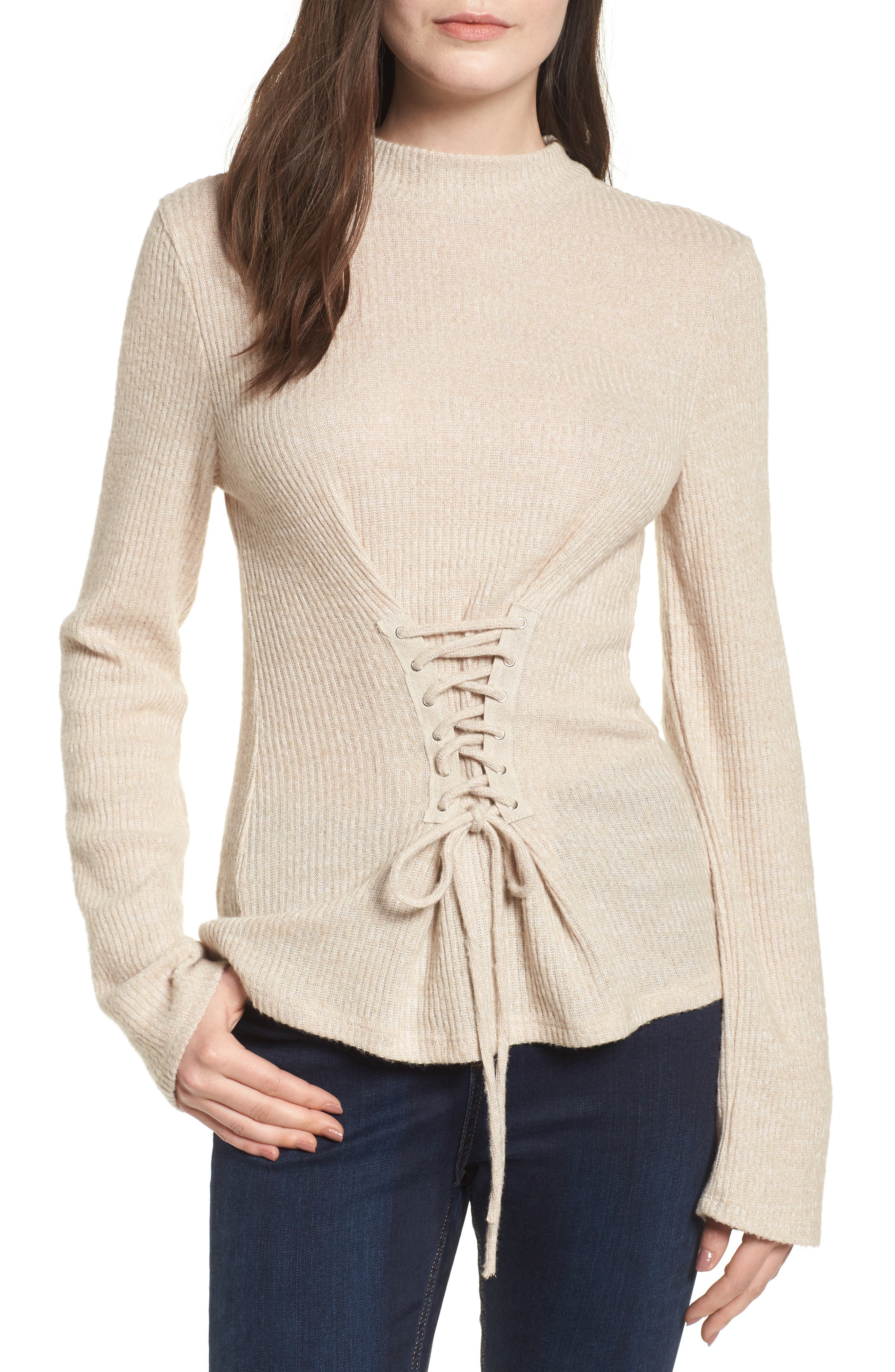 Rib Knit Corset Top,                         Main,                         color, 900