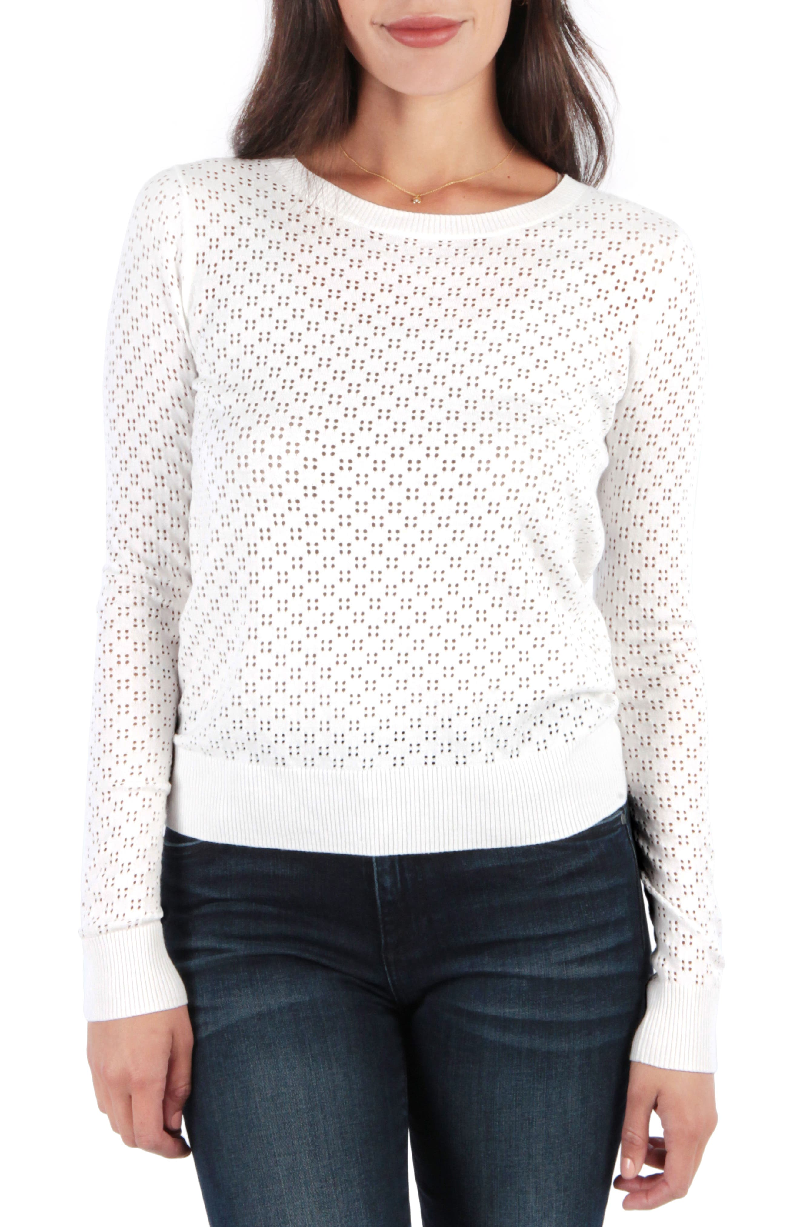 Edythe Pullover,                             Main thumbnail 1, color,                             WHITE