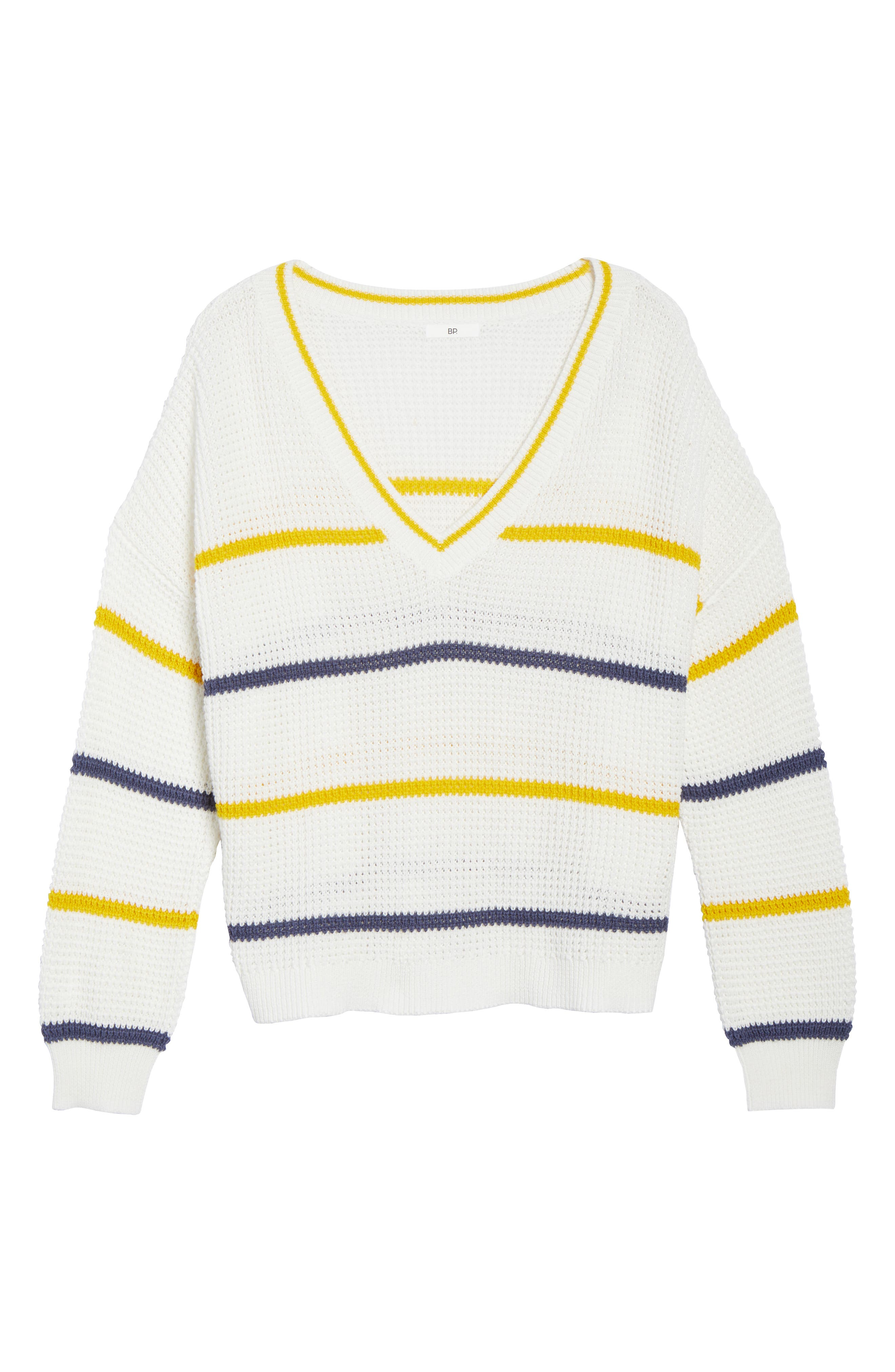BP.,                             Stripe Cotton Thermal Sweater,                             Alternate thumbnail 12, color,                             IVORY SEA STRIPE