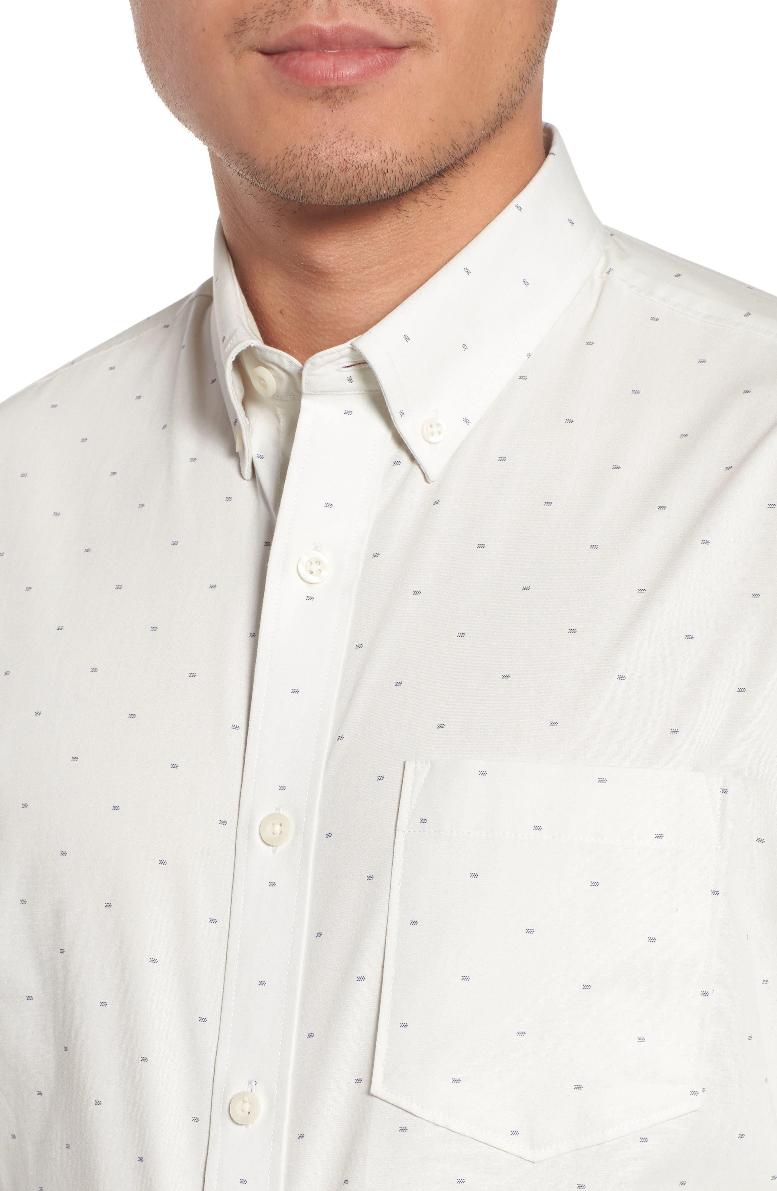 Trim Fit Non-Iron Dobby Sport Shirt,                             Alternate thumbnail 4, color,                             900