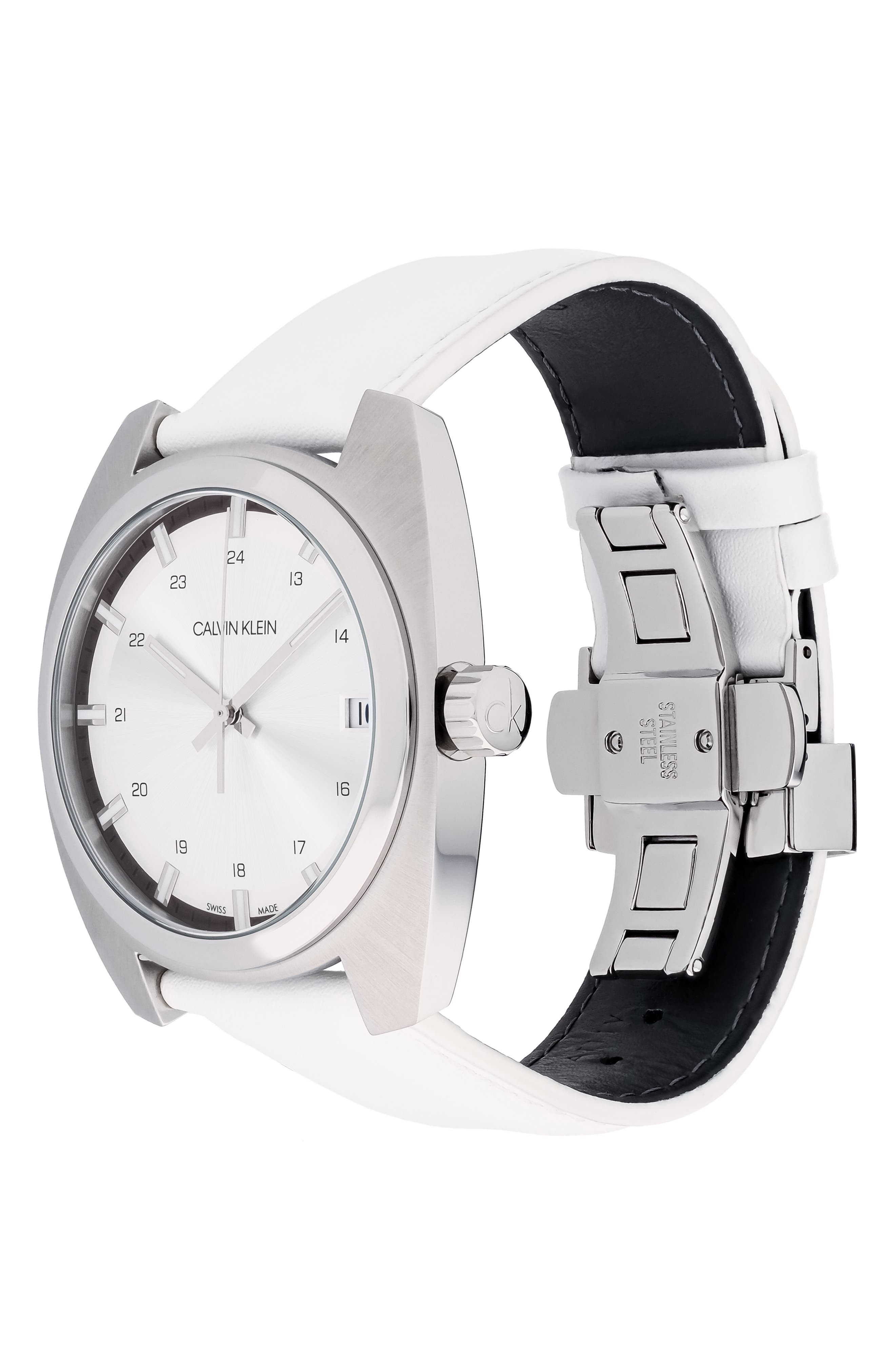 Achieve Leather Band Watch, 43mm,                             Alternate thumbnail 4, color,                             WHITE/ SILVER