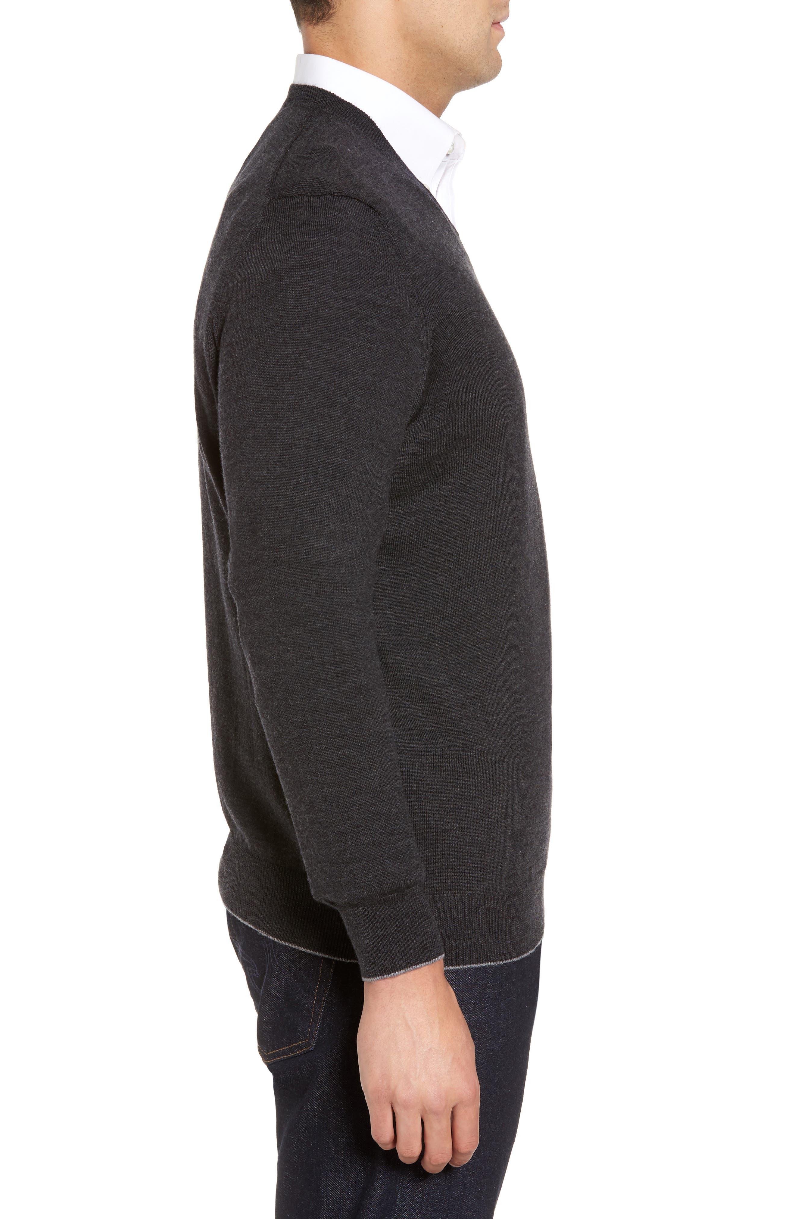 Merino Wool Blend V-Neck Sweater,                             Alternate thumbnail 3, color,                             020