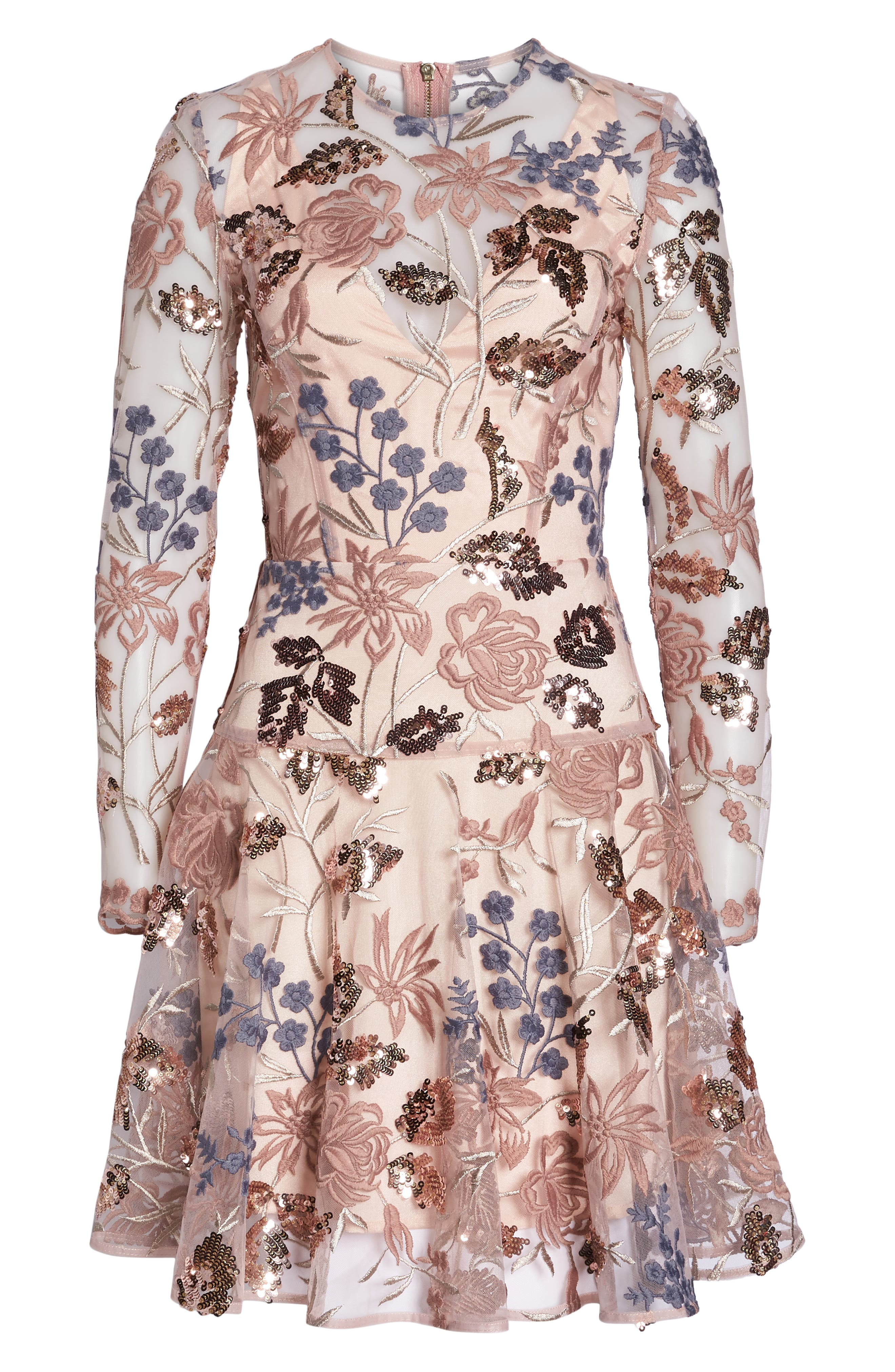BRONX AND BANCO,                             Aurora Embroidered Fit & Flare Dress,                             Alternate thumbnail 7, color,                             PINK