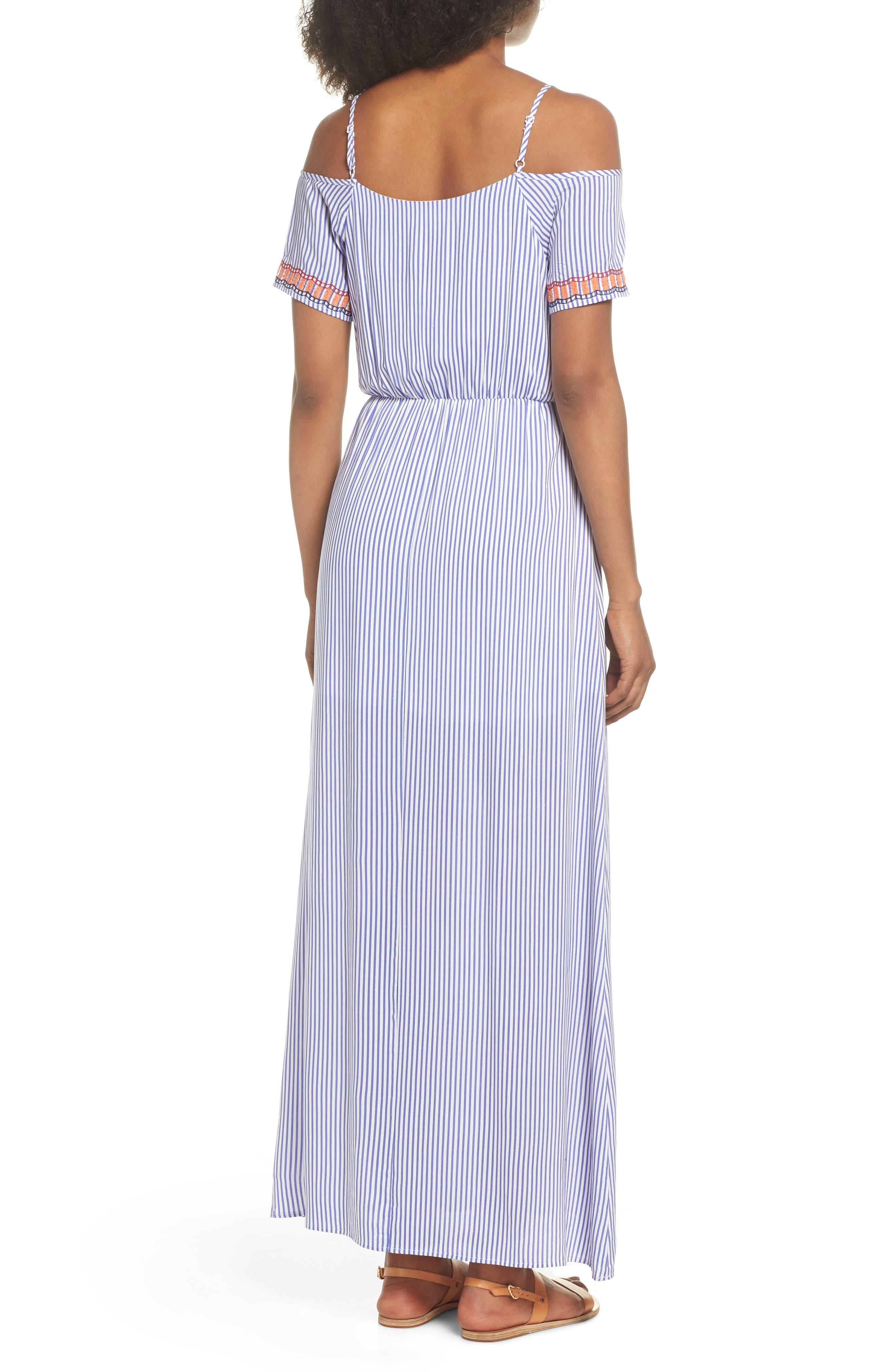 Stripe Cold Shoulder Maxi Dress,                             Alternate thumbnail 2, color,                             400