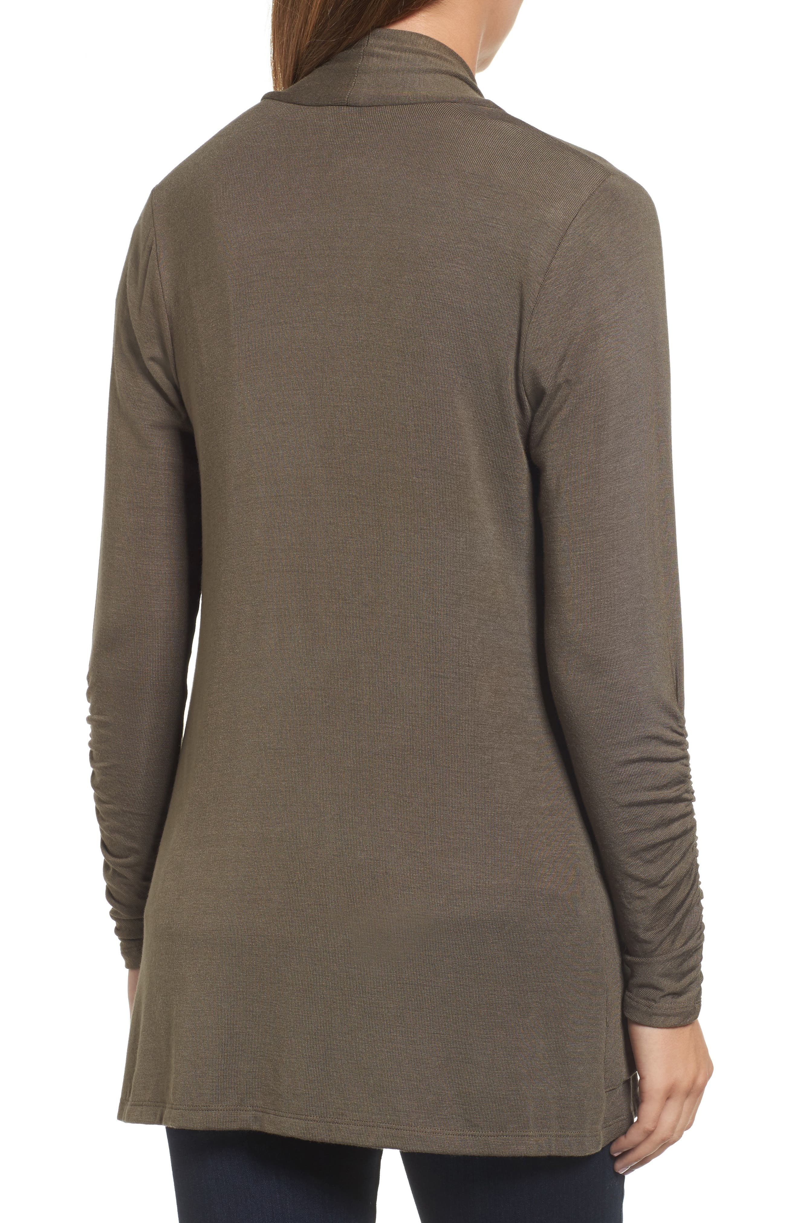 Ruched Sleeve Cardigan,                             Alternate thumbnail 2, color,                             OLIVE