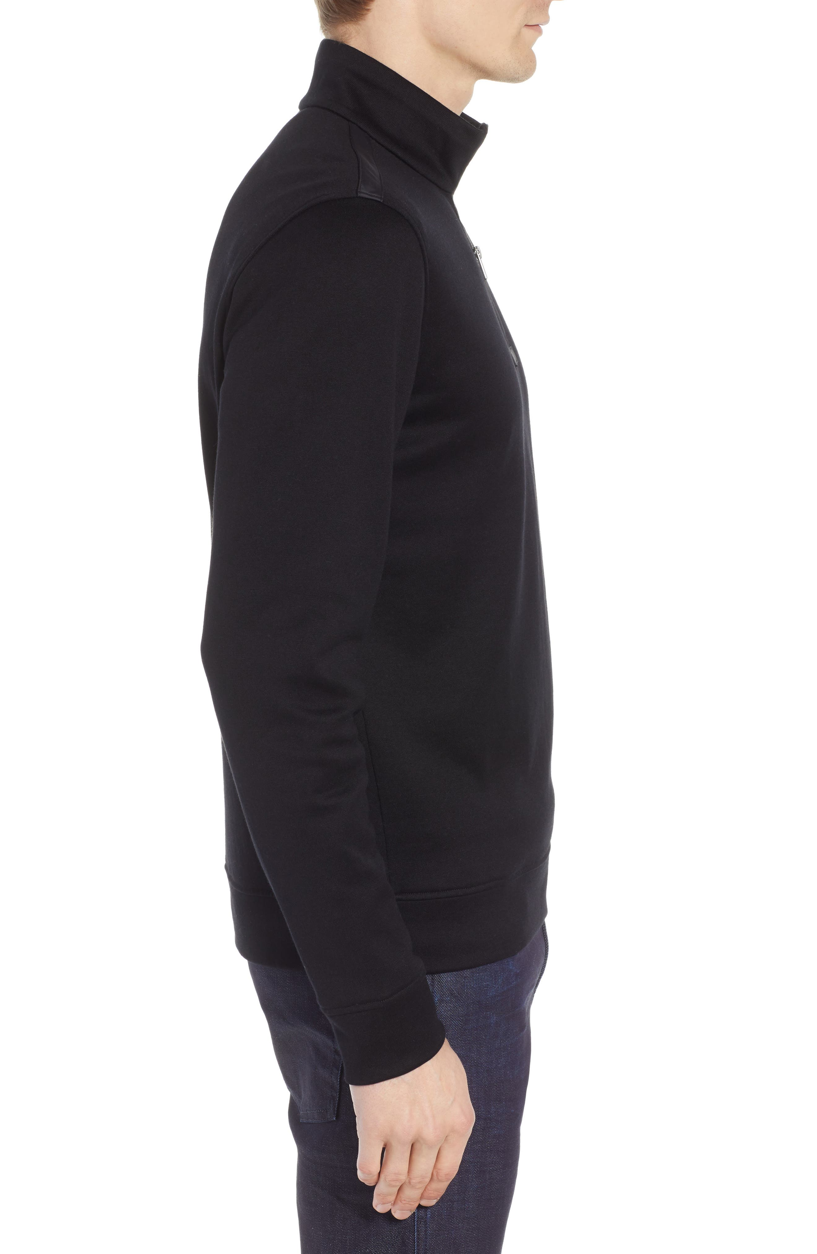 Sidney Regular Fit Quarter Zip Pullover,                             Alternate thumbnail 3, color,                             BLACK