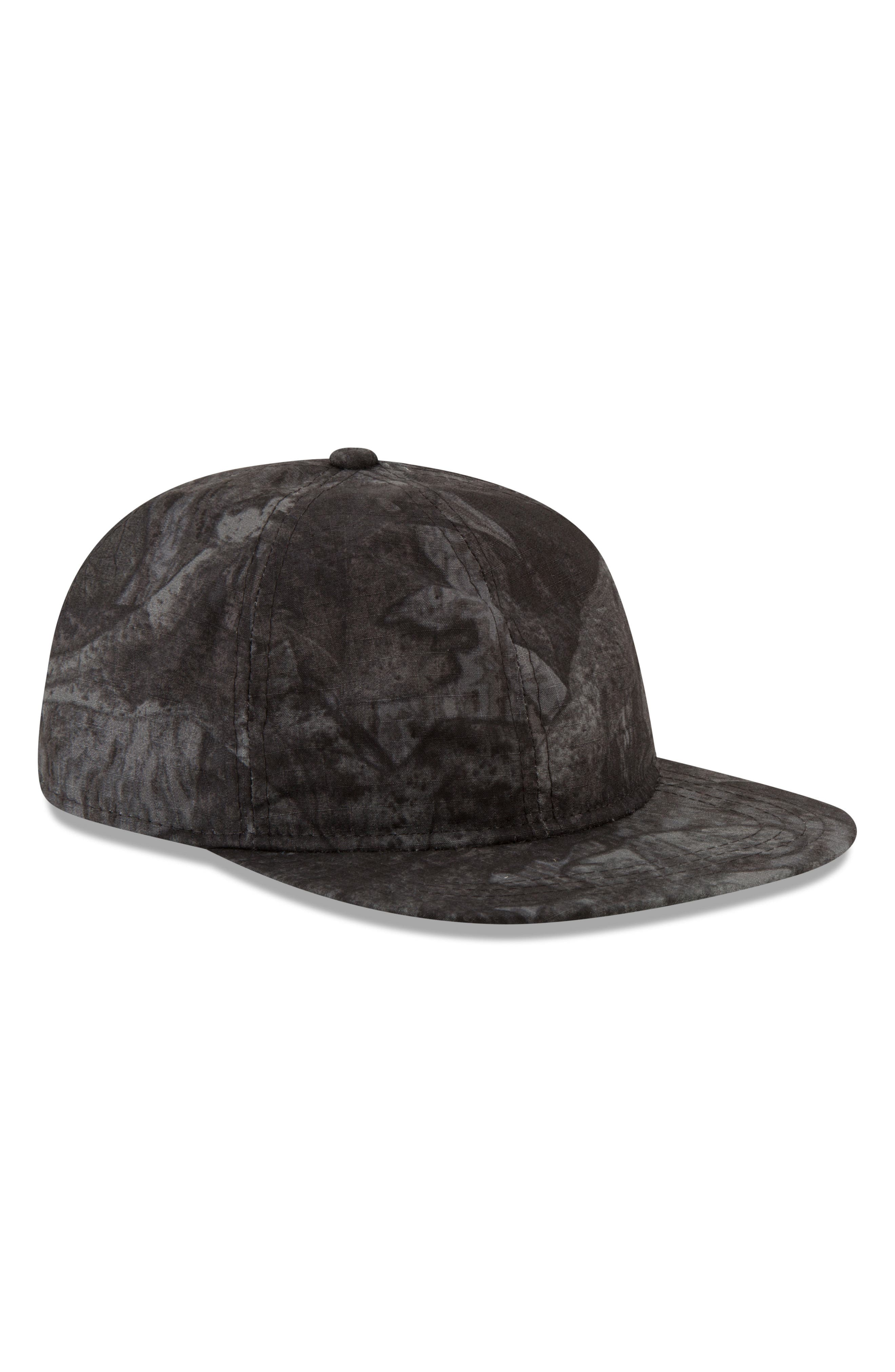 9Twenty Tonal Camo Flat Brim Hat,                             Alternate thumbnail 6, color,                             BLACK