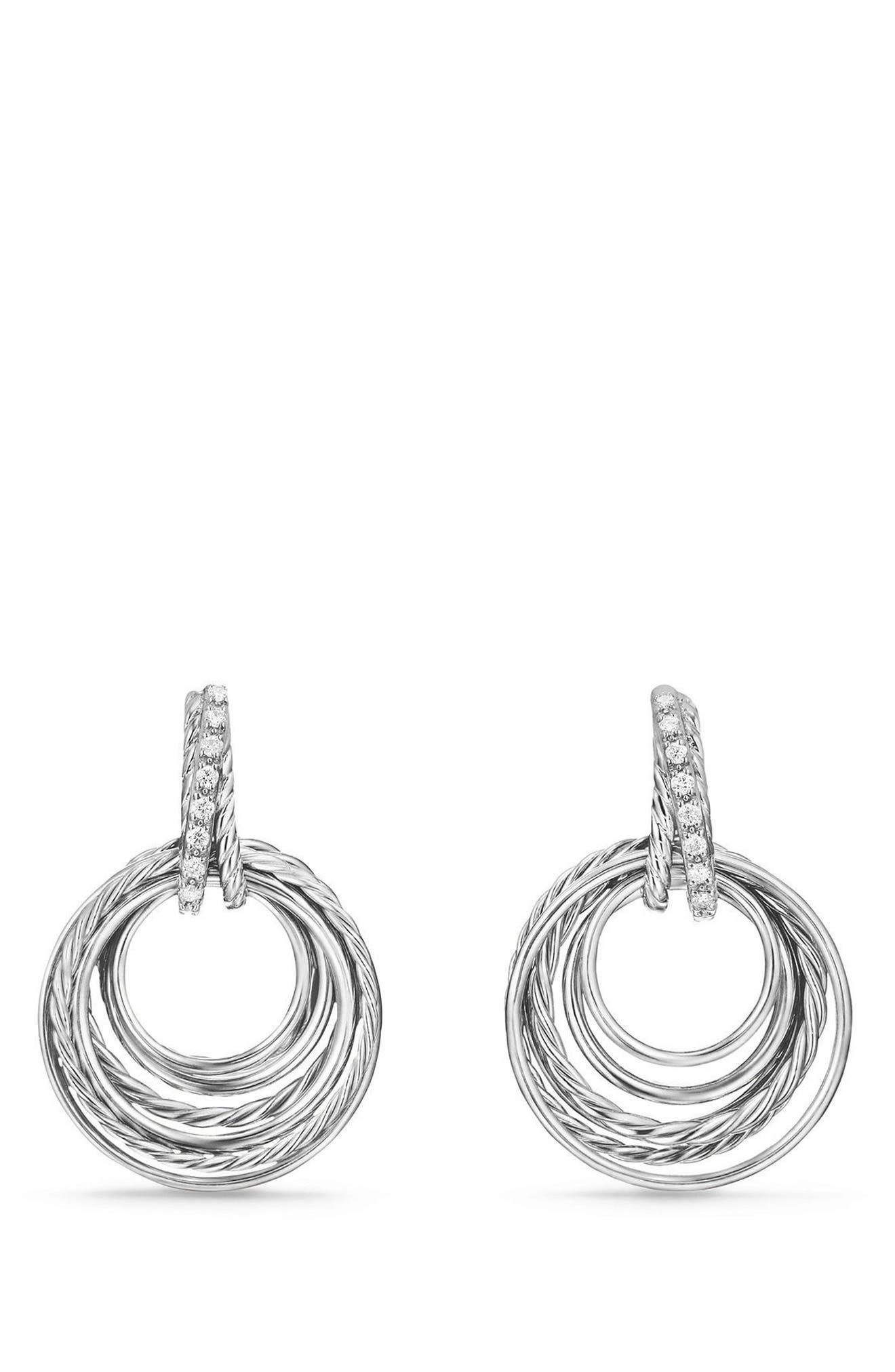 Crossover Drop Earrings with Diamonds,                         Main,                         color, SILVER