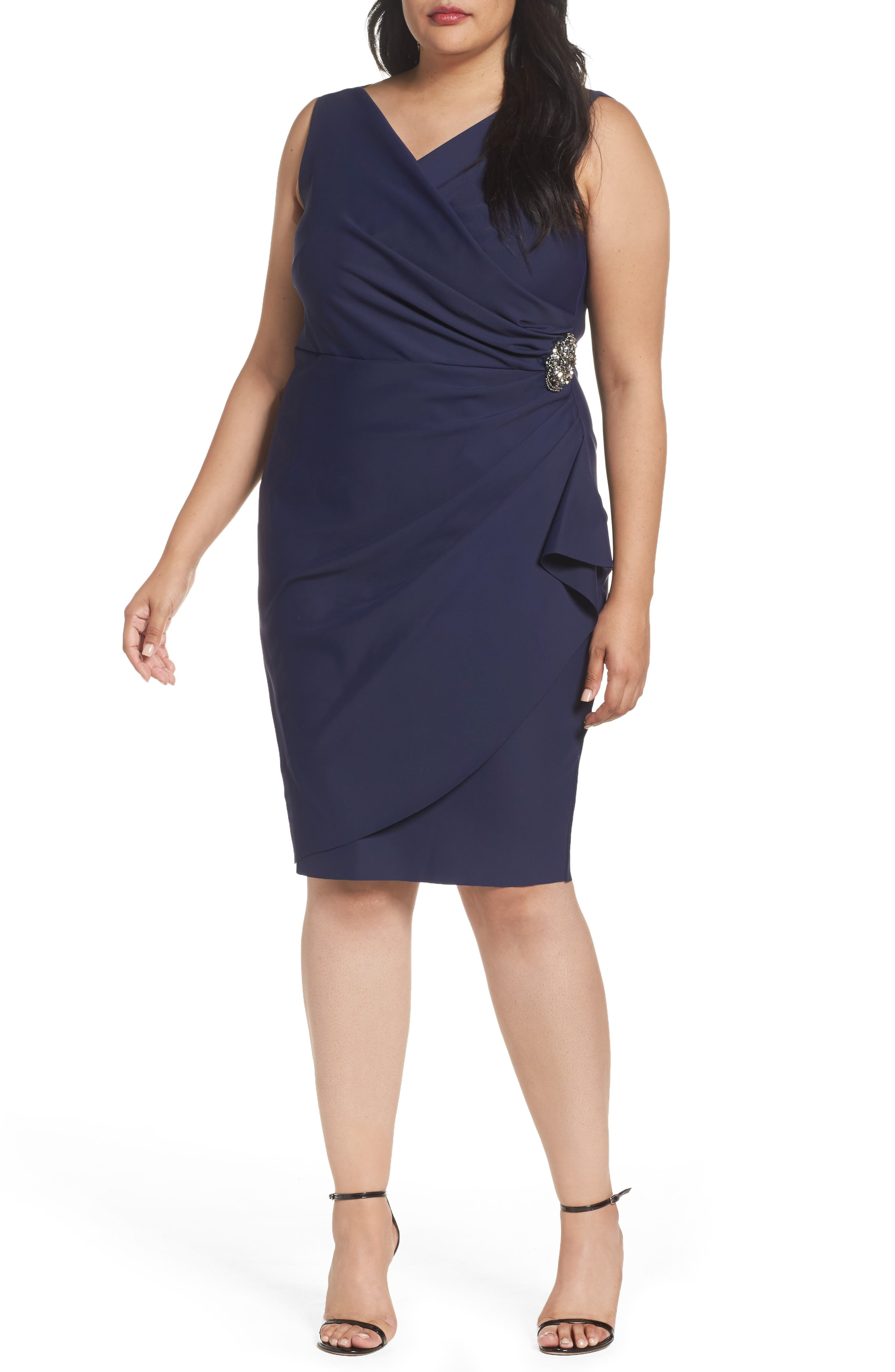 Embellished Surplice Sheath Dress,                             Main thumbnail 3, color,