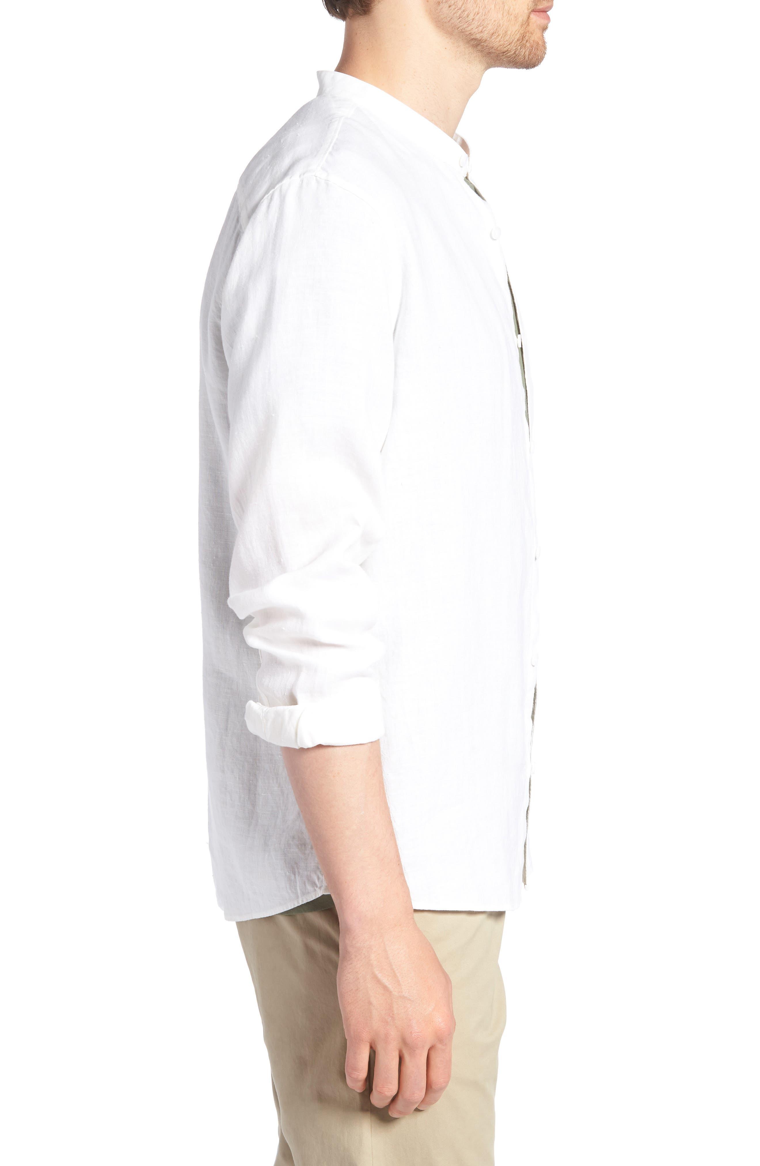 Band Collar Linen Sport Shirt,                             Alternate thumbnail 3, color,                             100