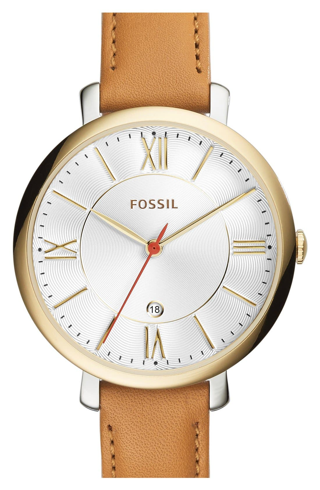 'Jacqueline' Round Leather Strap Watch, 36mm,                             Main thumbnail 7, color,