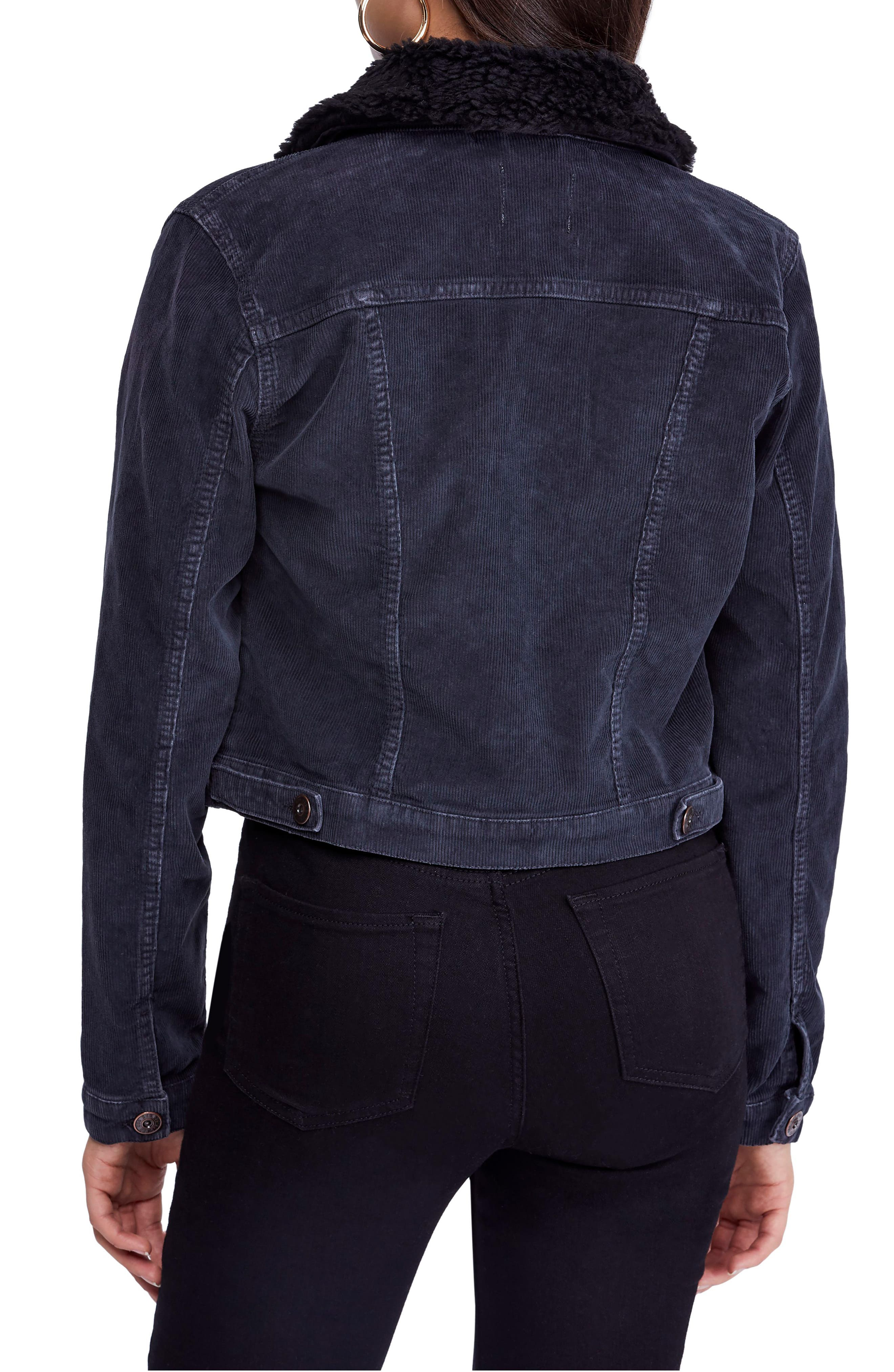 Urban Outfitters '90s Fleece Collar Corduroy Crop Jacket,                             Alternate thumbnail 2, color,                             BLACK