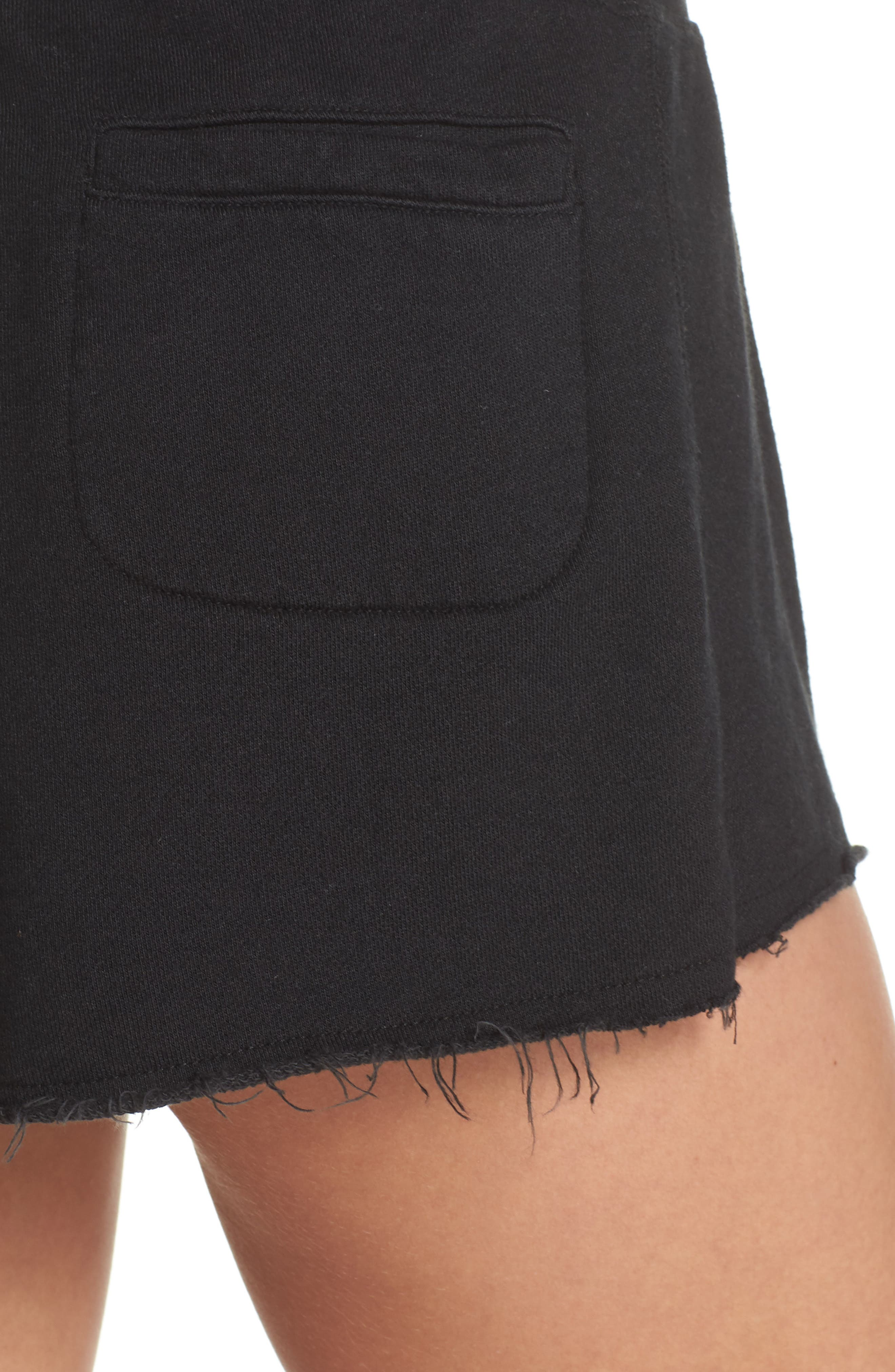 French Terry Sleep Shorts,                             Alternate thumbnail 4, color,                             FADED BLACK