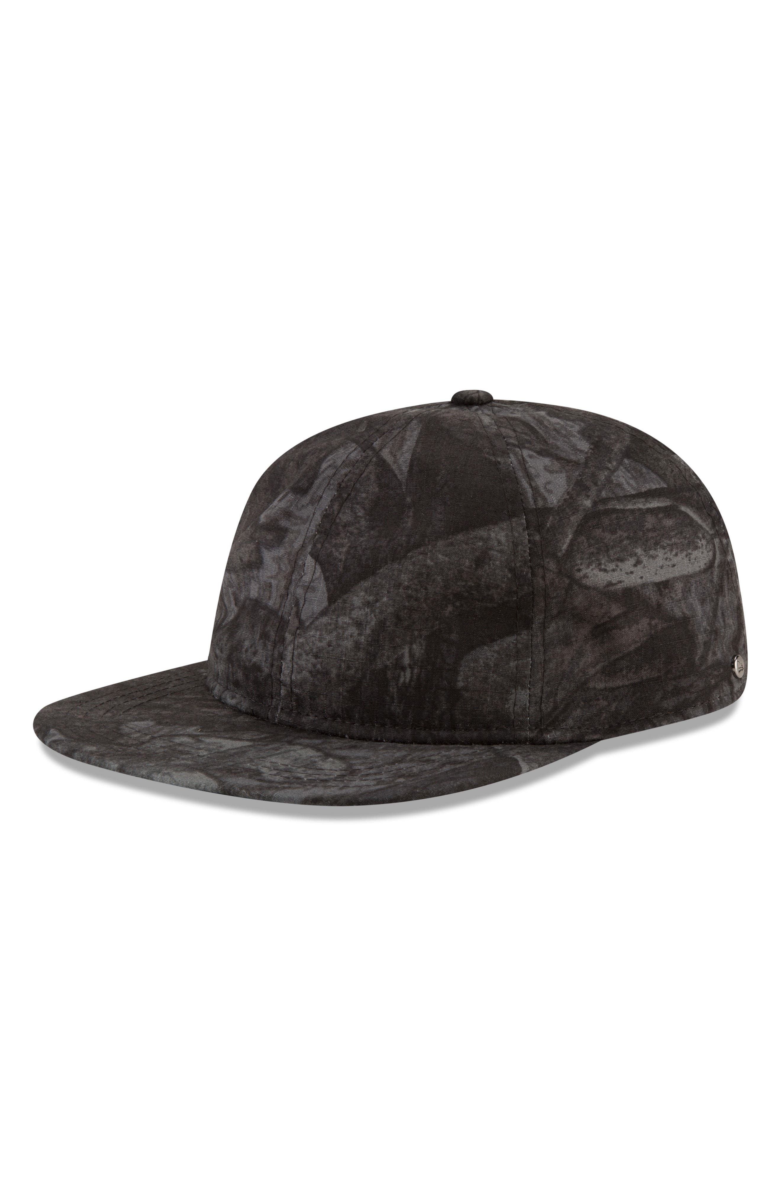 9Twenty Tonal Camo Flat Brim Hat,                             Alternate thumbnail 4, color,                             BLACK