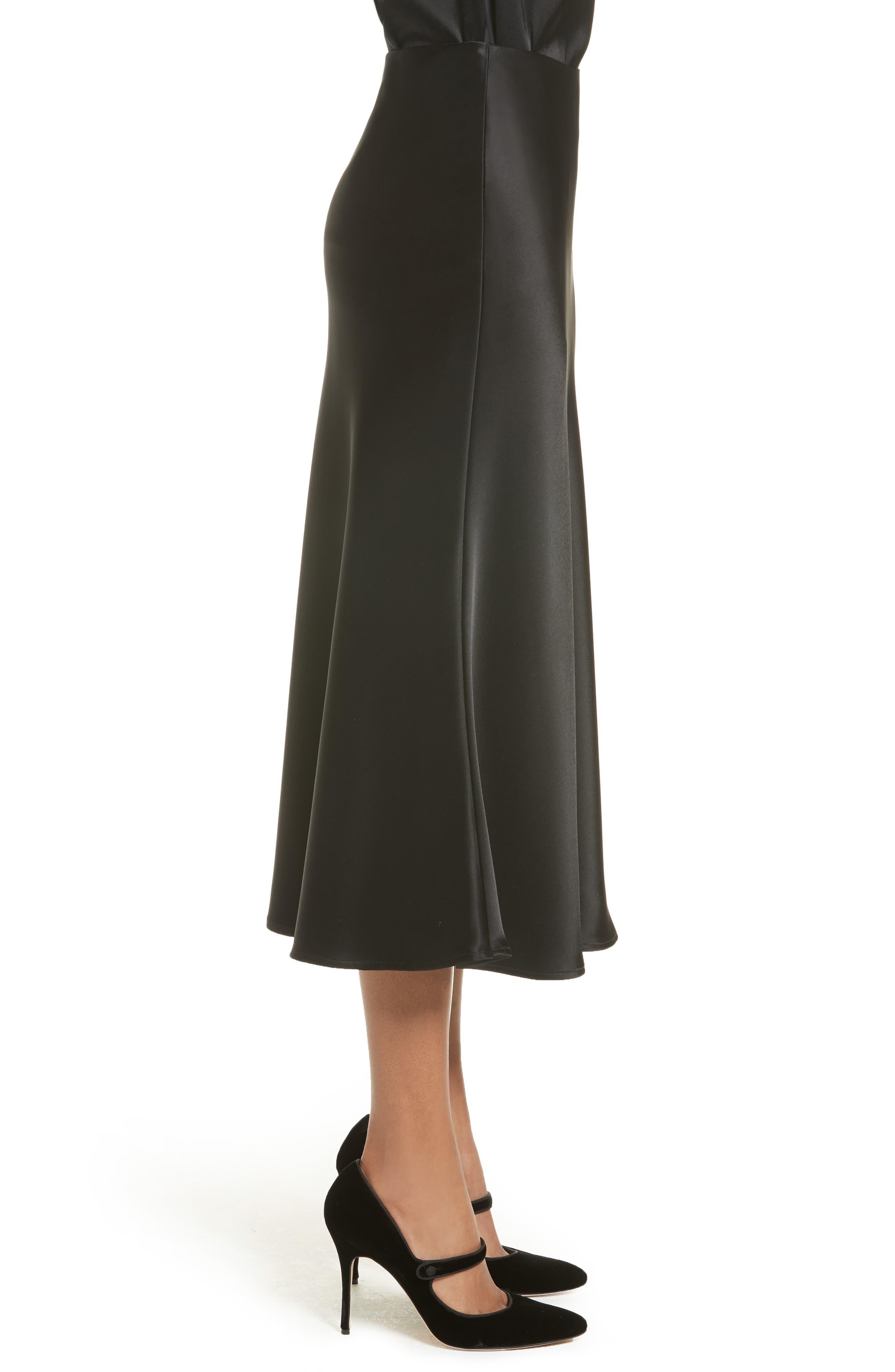 Bias Cut Liquid Satin Flared Skirt,                             Alternate thumbnail 3, color,                             001