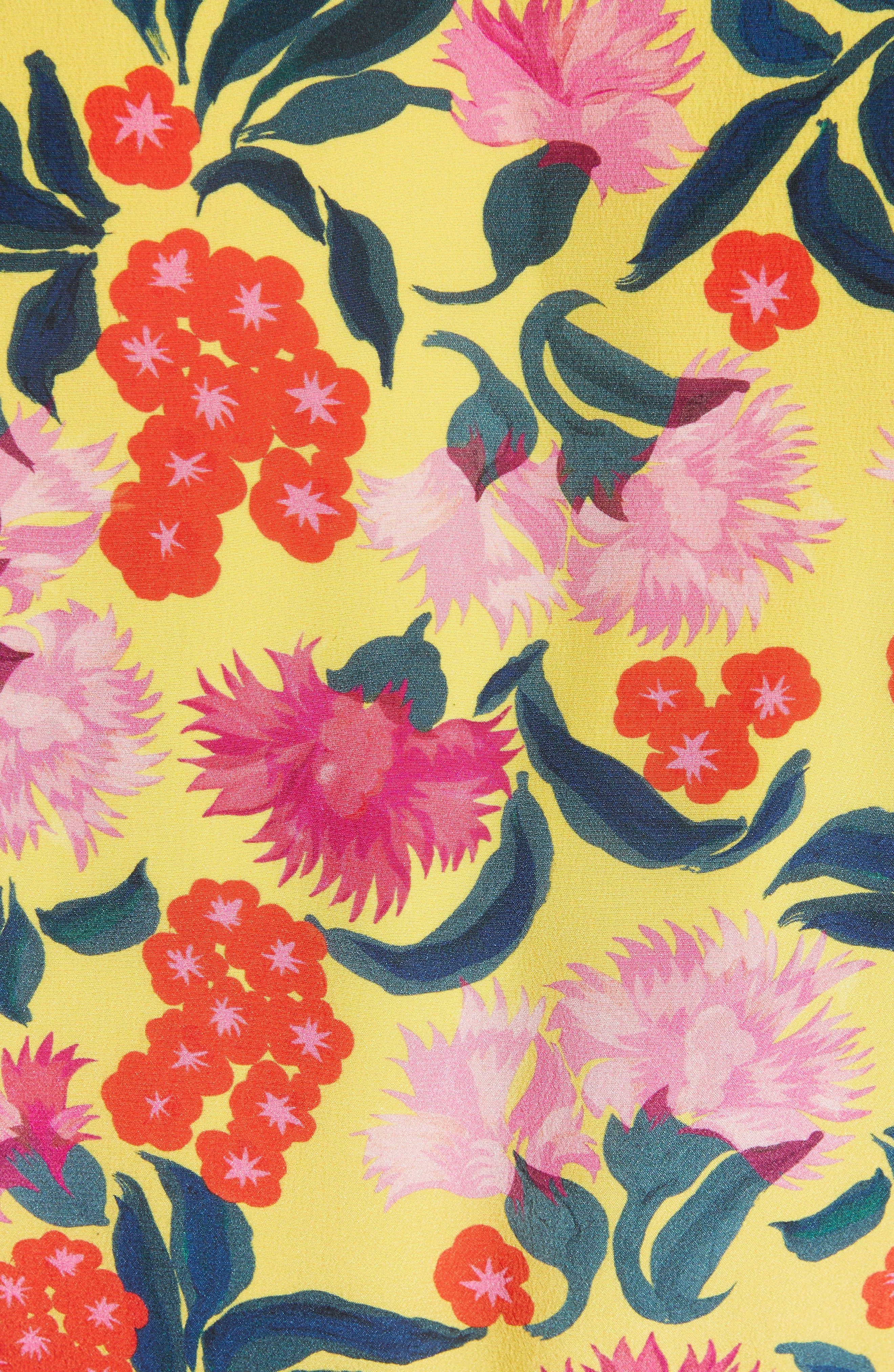 Ginny Floral Print Embellished Sleeve Silk Dress,                             Alternate thumbnail 5, color,                             YELLOW AZALEA