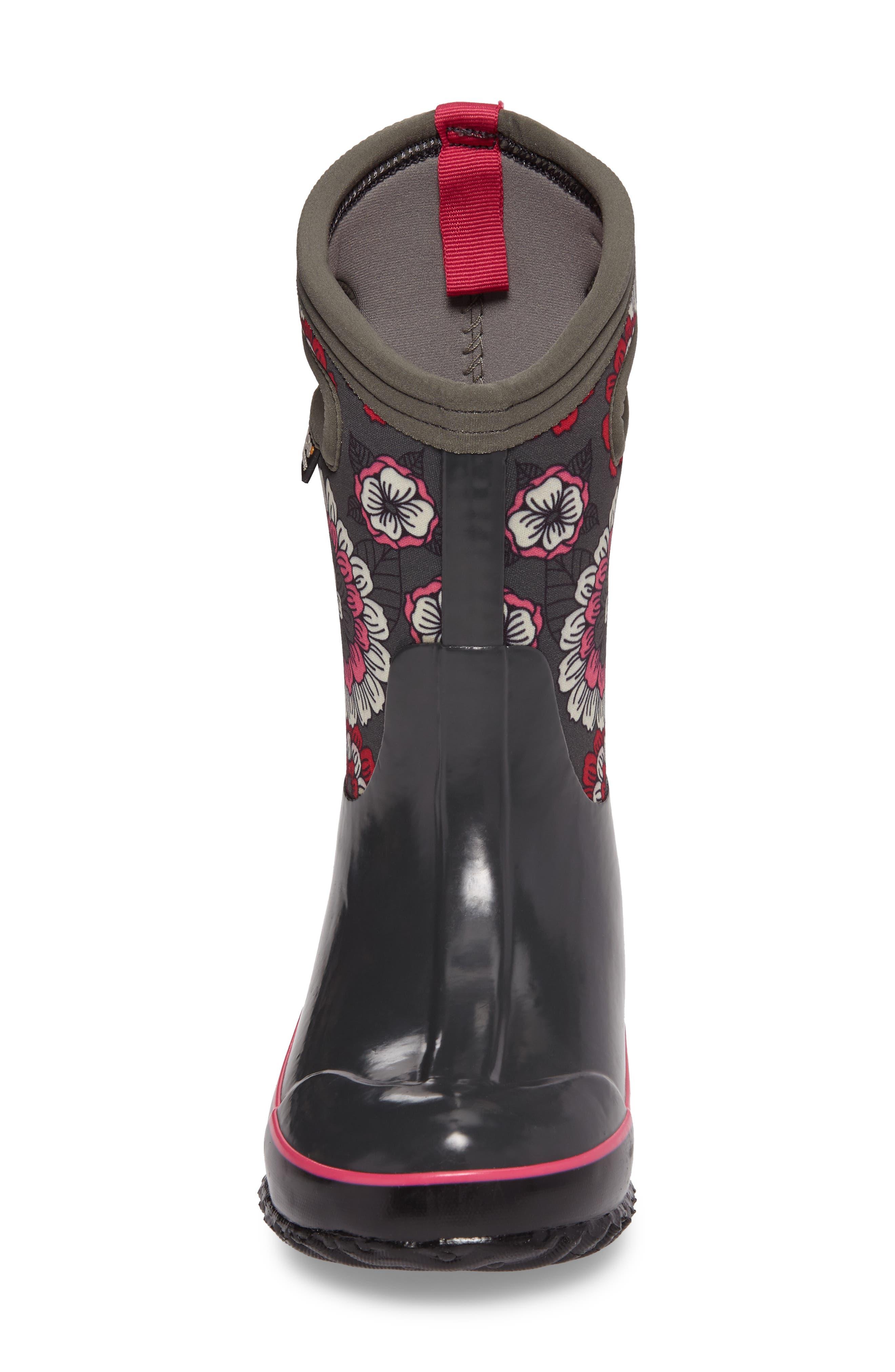 Classic Pansies Insulated Waterproof Boot,                             Alternate thumbnail 4, color,                             DARK GRAY MULTI